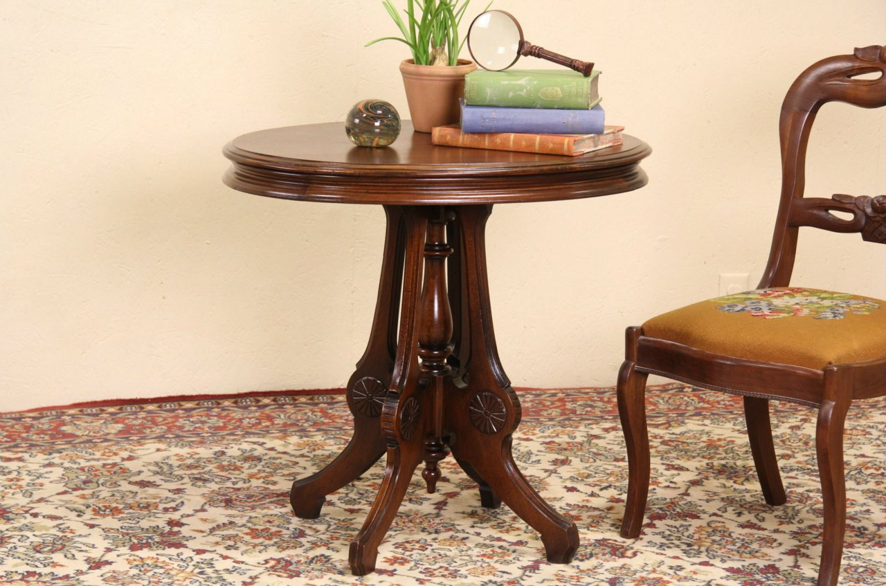 Sold victorian oval 1880 antique walnut lamp table harp victorian oval 1880 antique walnut lamp table geotapseo Image collections