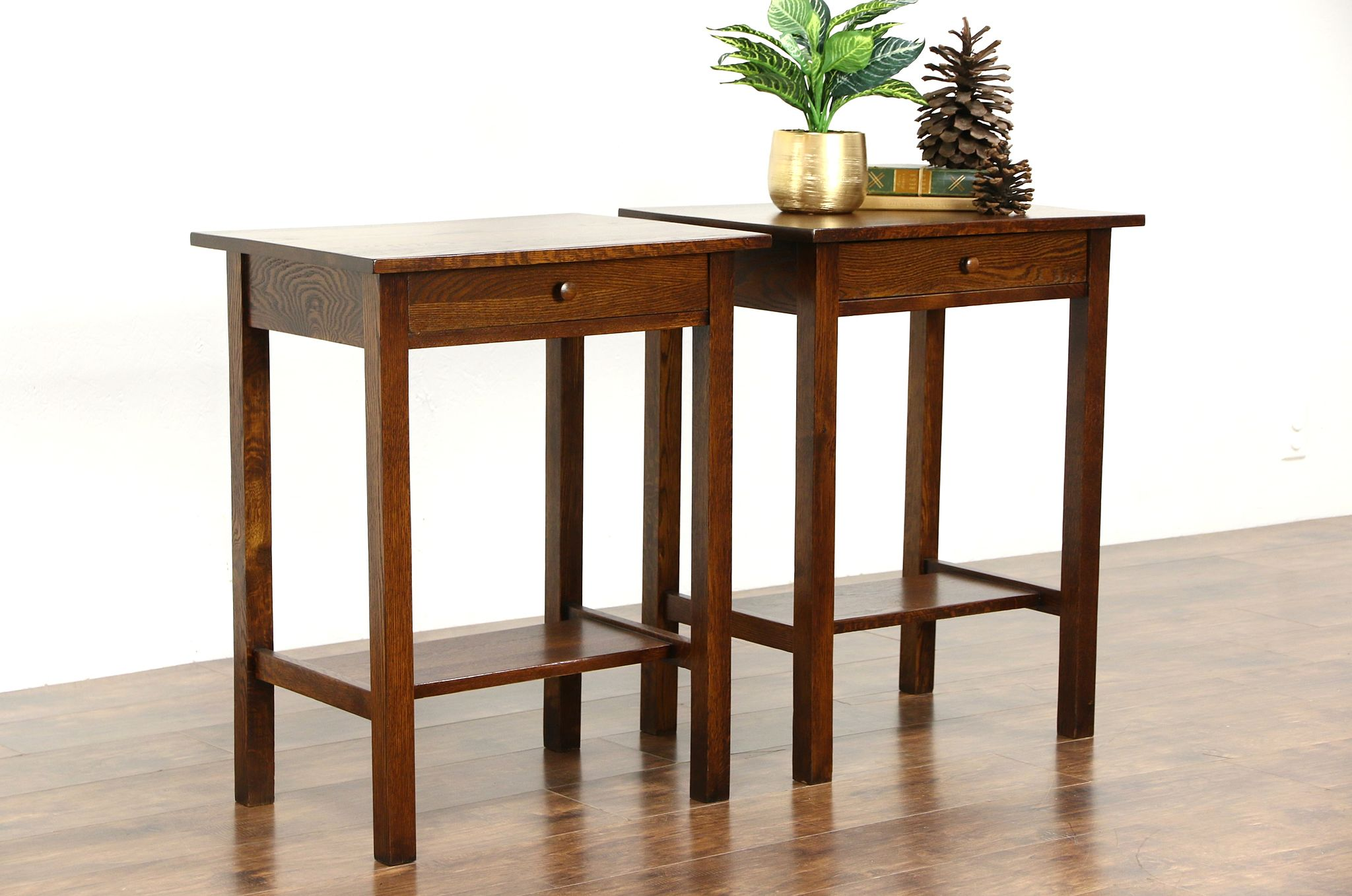 Pair Of Mission Oak Arts Crafts Antique Craftsman Nightstands Or End Tables