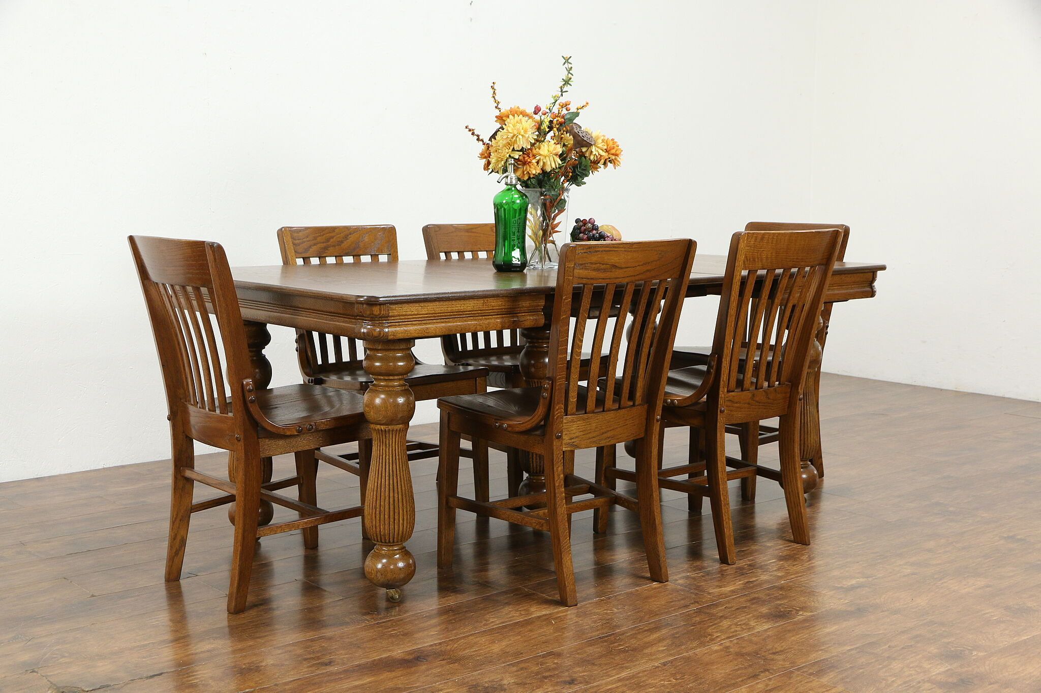 Victorian Antique Square Oak Farmhouse Dining Table 4 Leaves 5 Legs 34132 Harp Gallery Antiques Furniture
