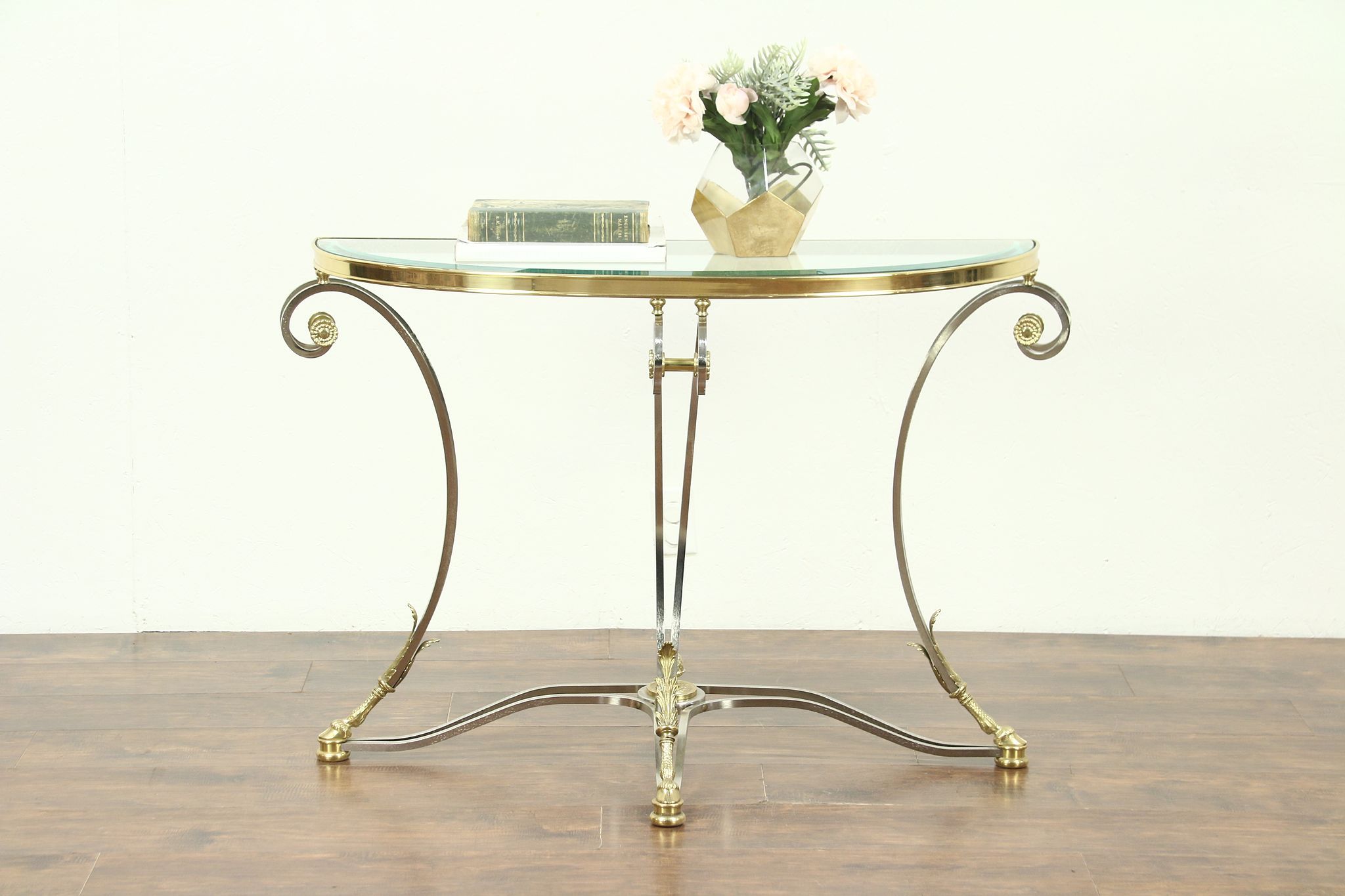 Brass U0026 Nickel Beveled Glass Contemporary Demilune Console Table Horse Hoof  Feet ...