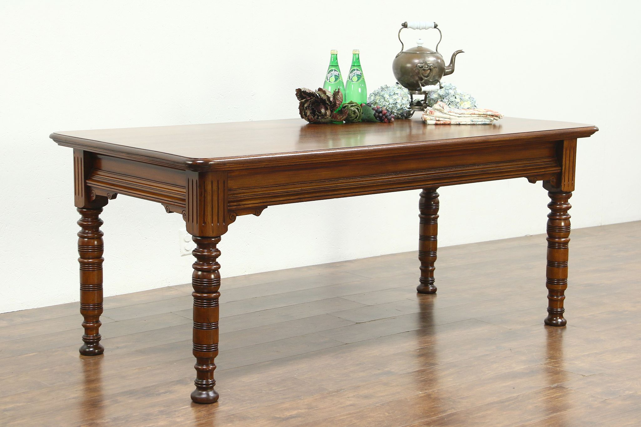 Victorian Eastlake 1880 Antique Library Table or Kitchen Island ...