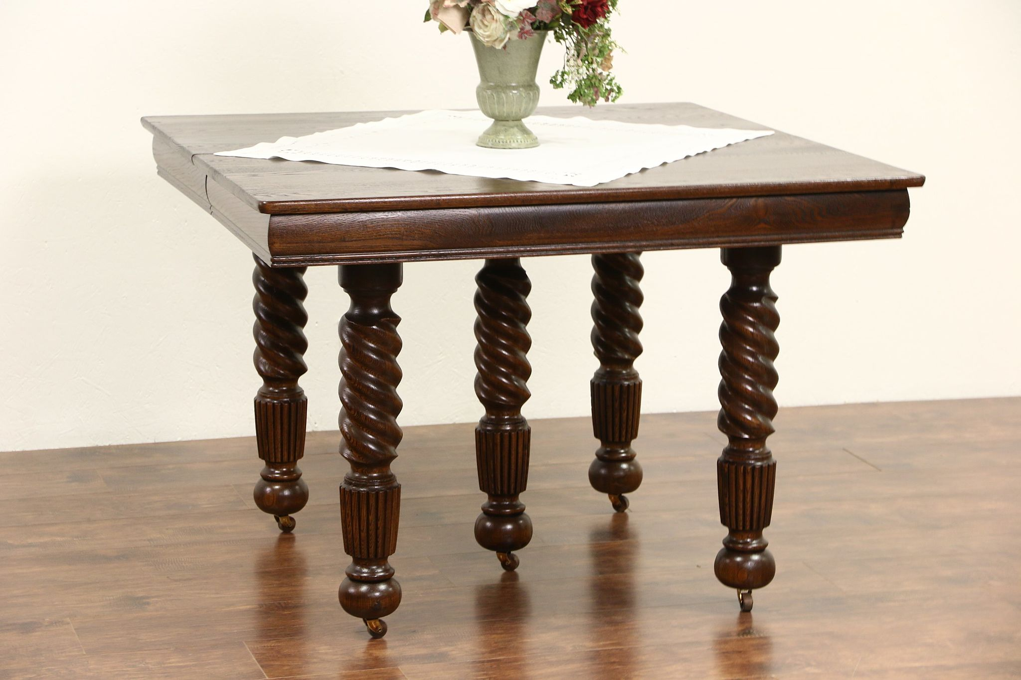 Oak 1900 Antique Square Dining Table, 4 Leaves, 5 Spiral Legs Extends 7\'