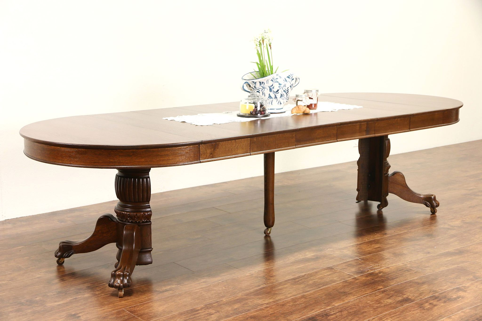Round 1900 Antique 45 Oak Pedestal Dining Table 6 Leaves Lion Paw Feet