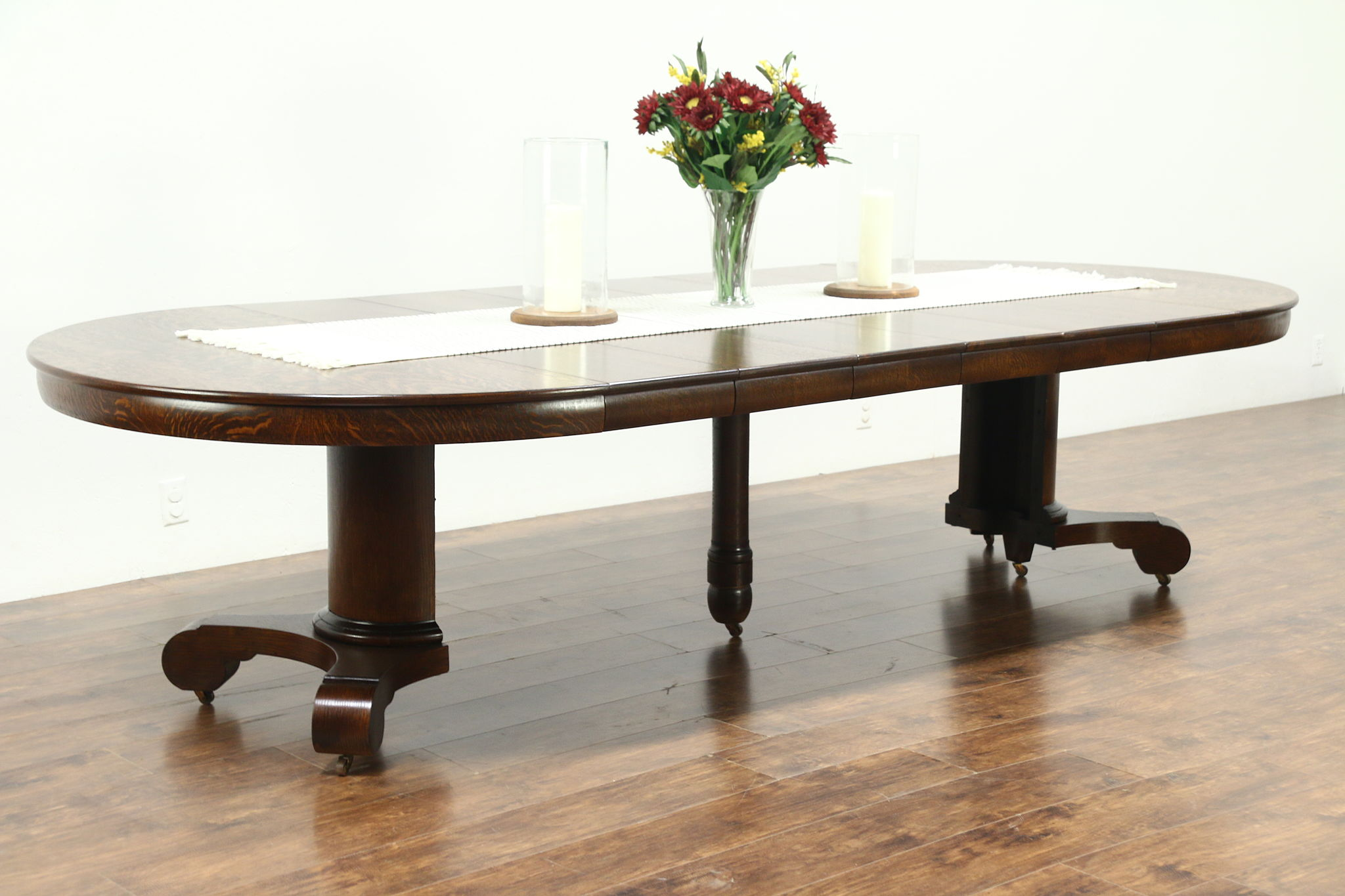 Empire Round 54 Antique 1900 Oak Dining Table 6 Leaves Extends 10 28598