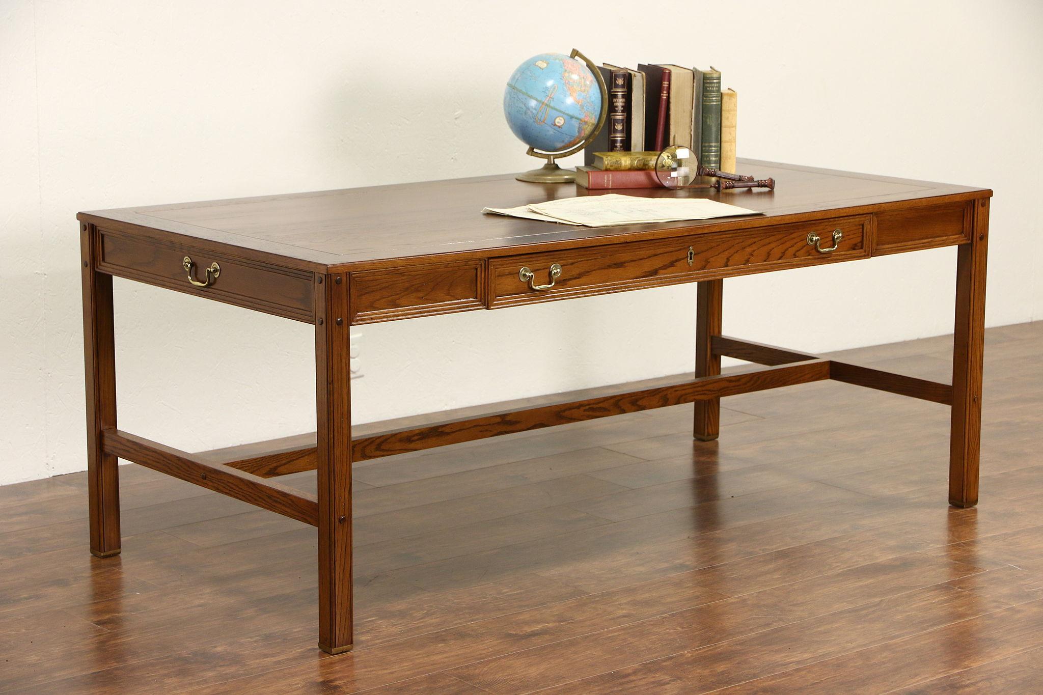 Oak Vintage Writing Desk Or Library Table, Signed Alex Stuart Of Cal.