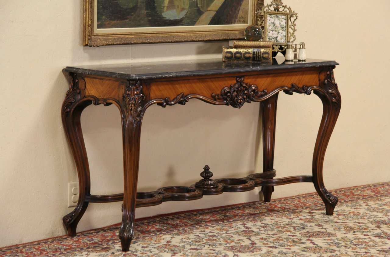 French Marble Top 1900 Antique Console Hall Or Sofa Table