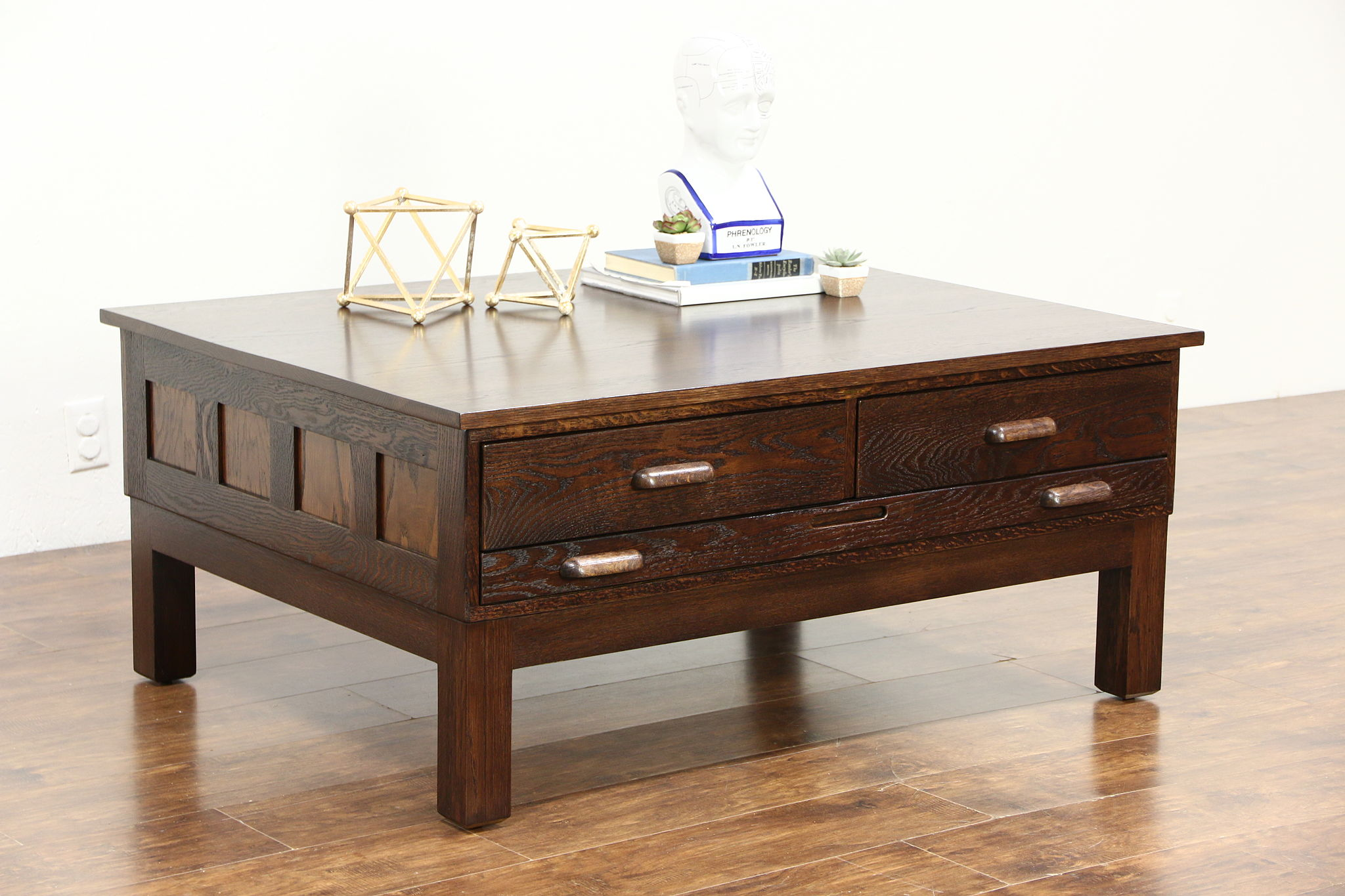 Hamilton Signed Vintage Oak Map Chest Or Drawing File Coffee Table