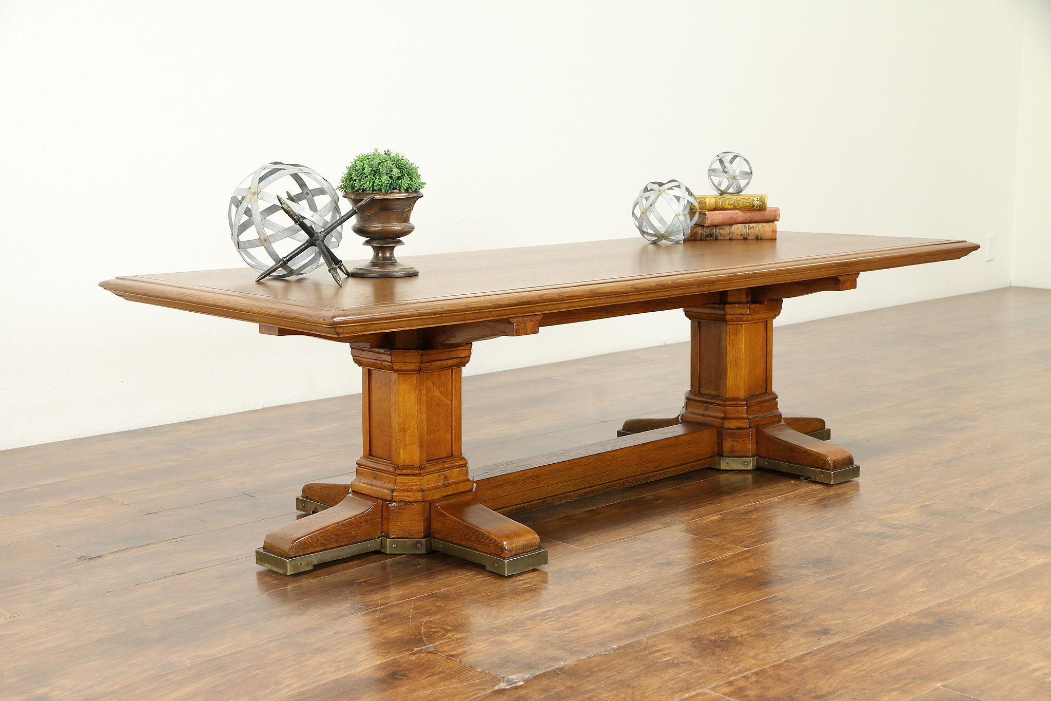 Picture of: Sold Classical Antique Oak Coffee Table From Bank Table Bronze Base 31149 Harp Gallery Antiques Furniture