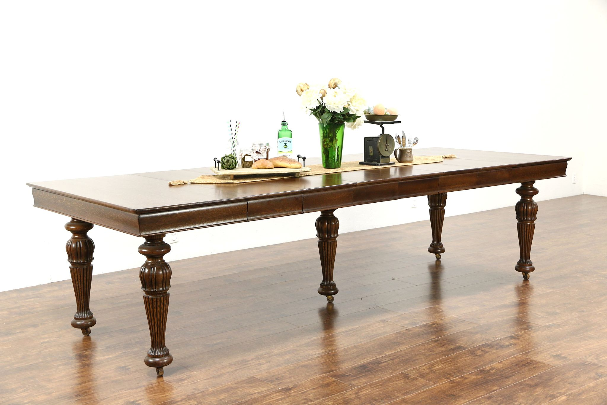 Square Oak Antique 1900 Dining Table 6 Leaves Extends 9