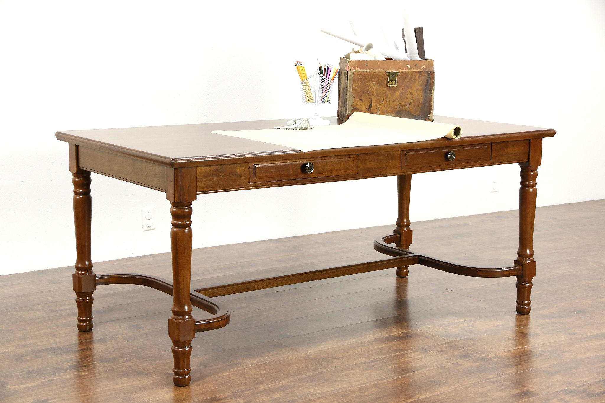 office writing table. Walnut Traditional Office Or Library Table, Writing Desk, 1930\u0027s Vintage Table L