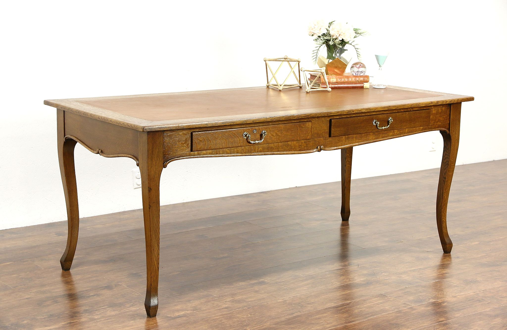Oak 1900 Antique 6u0027 Library Table Or Writing Desk, Leather Top, ...