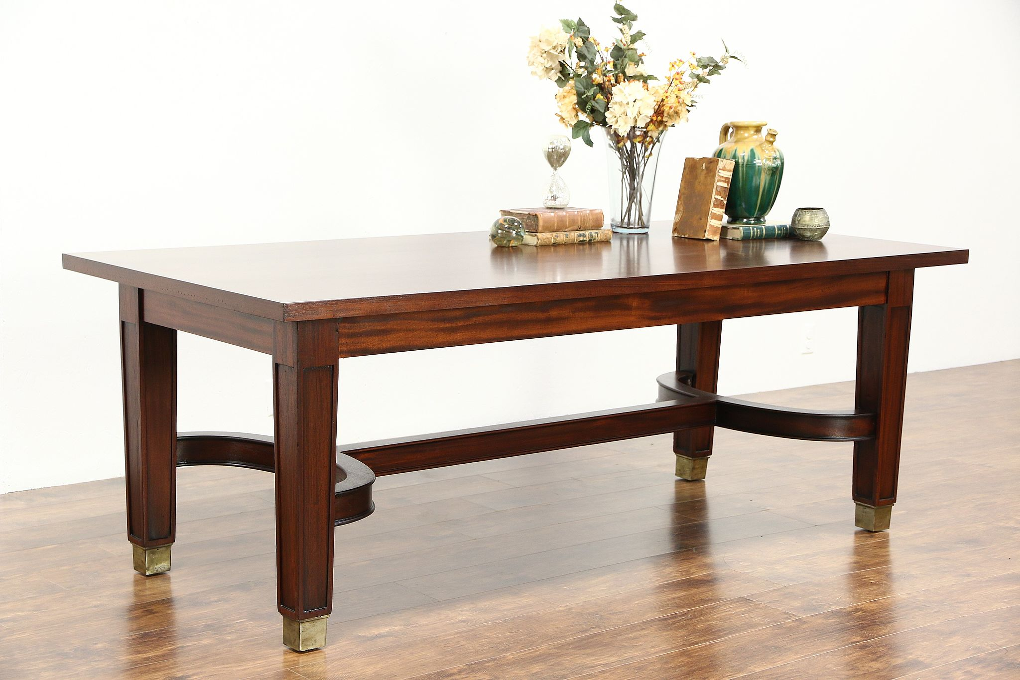 Mahogany 1930 s Vintage 7 Conference or Library Table or Writing