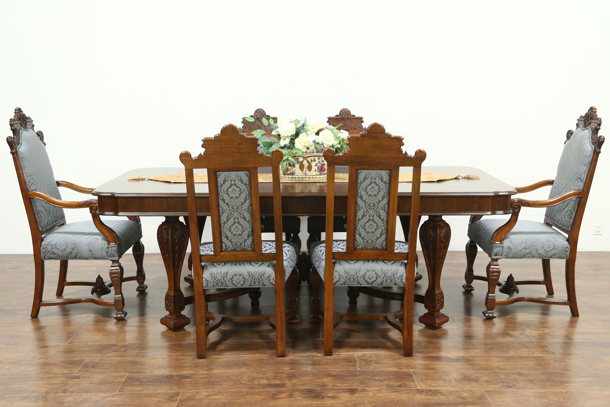Renaissance Antique Dining Set, Table, 6 Chairs New Fabric Signed Johnson  #28826 ...