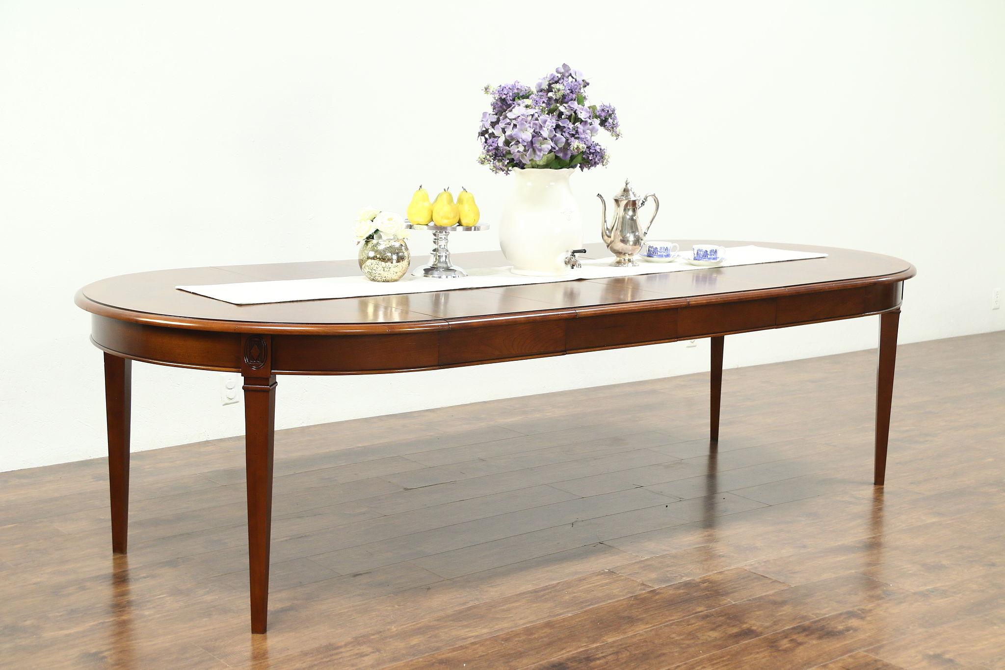 Round Vintage Cherry Sunburst Dining Table 4 Leaves 102 Long Harden 28839