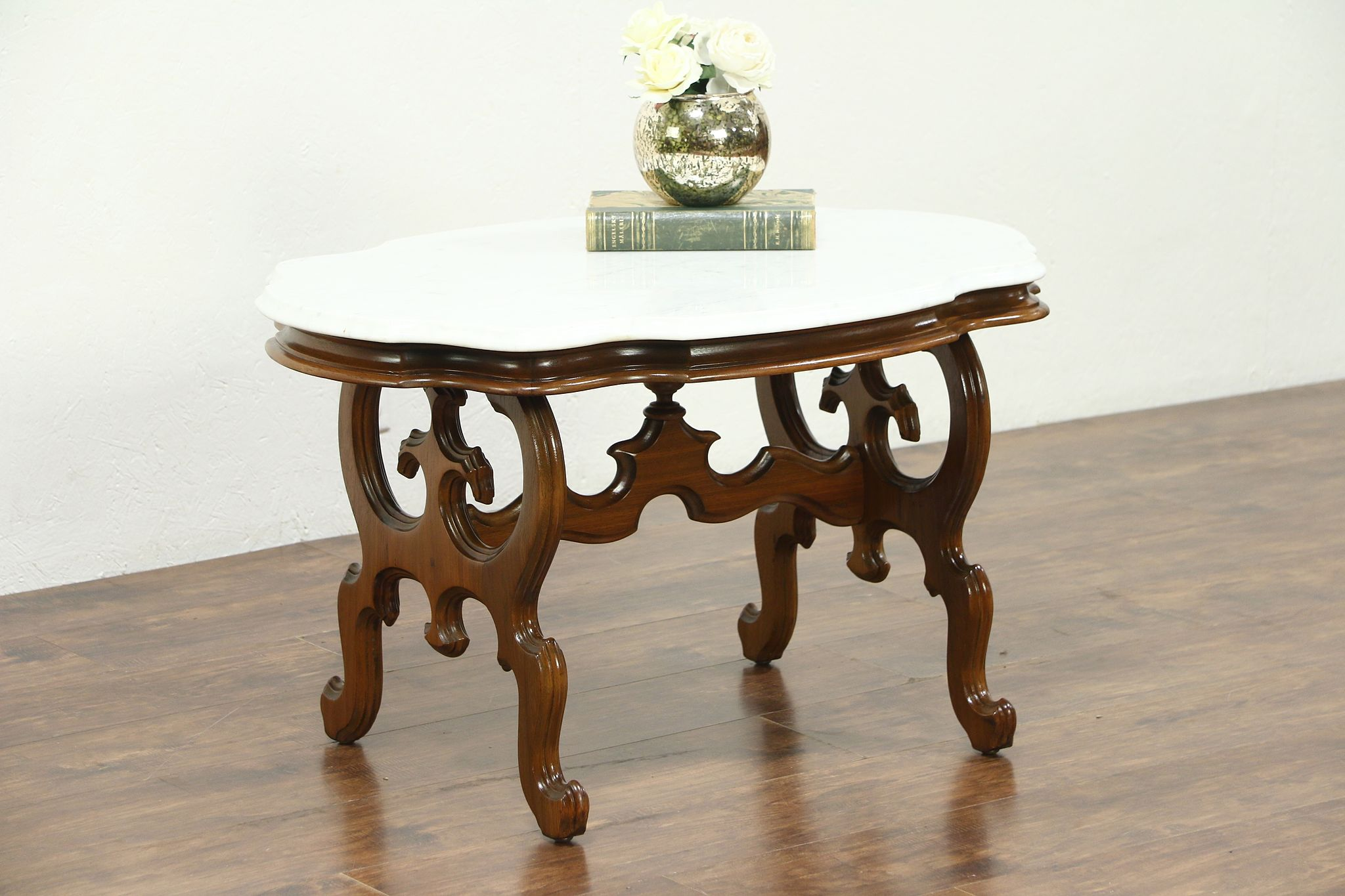 Gentil Victorian Marble Top Walnut Coffee Table From 1860u0027s Antique #28722