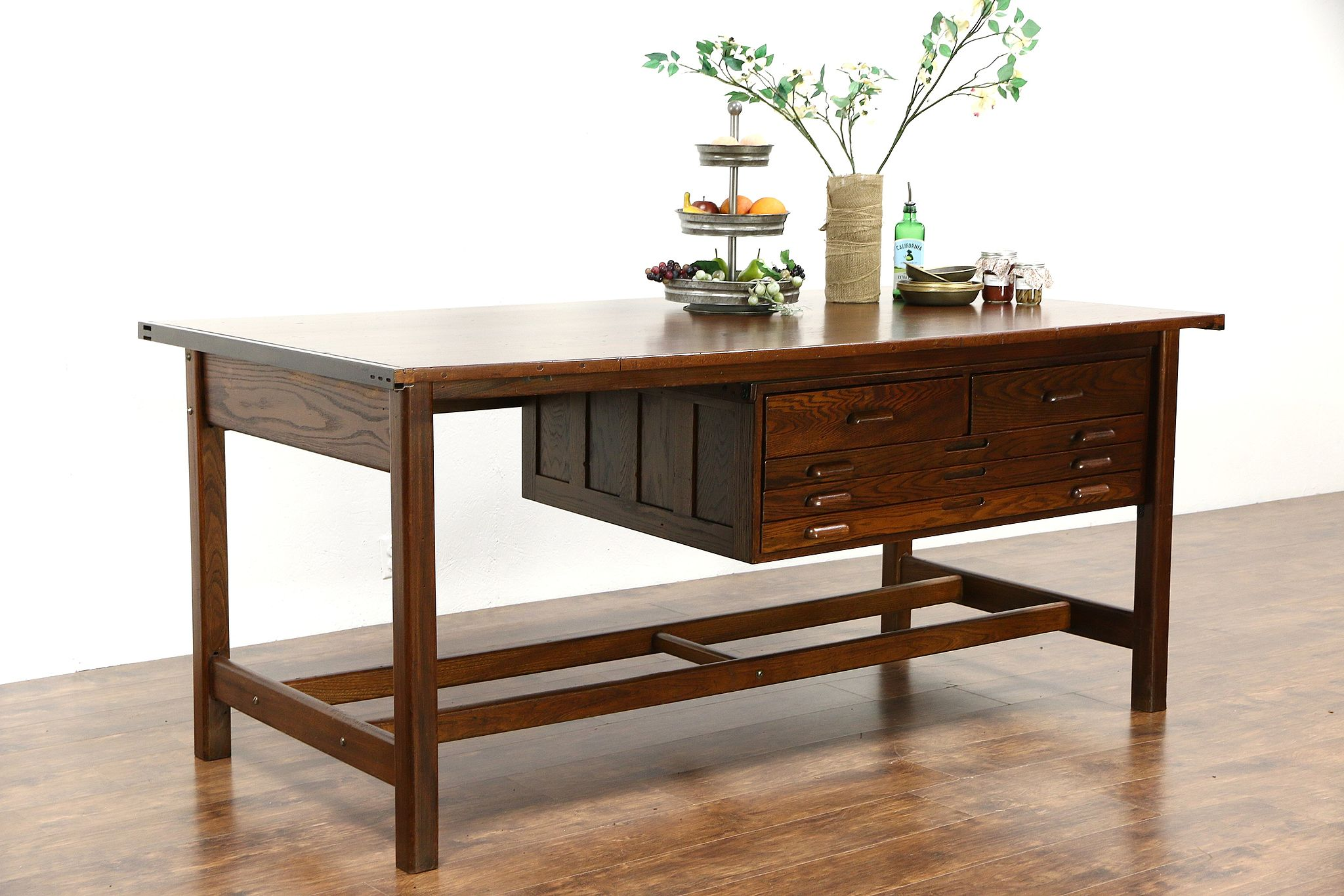 Architect Vintage 7 Drafting Desk Wine Table Kitchen Island Signed Hamilton