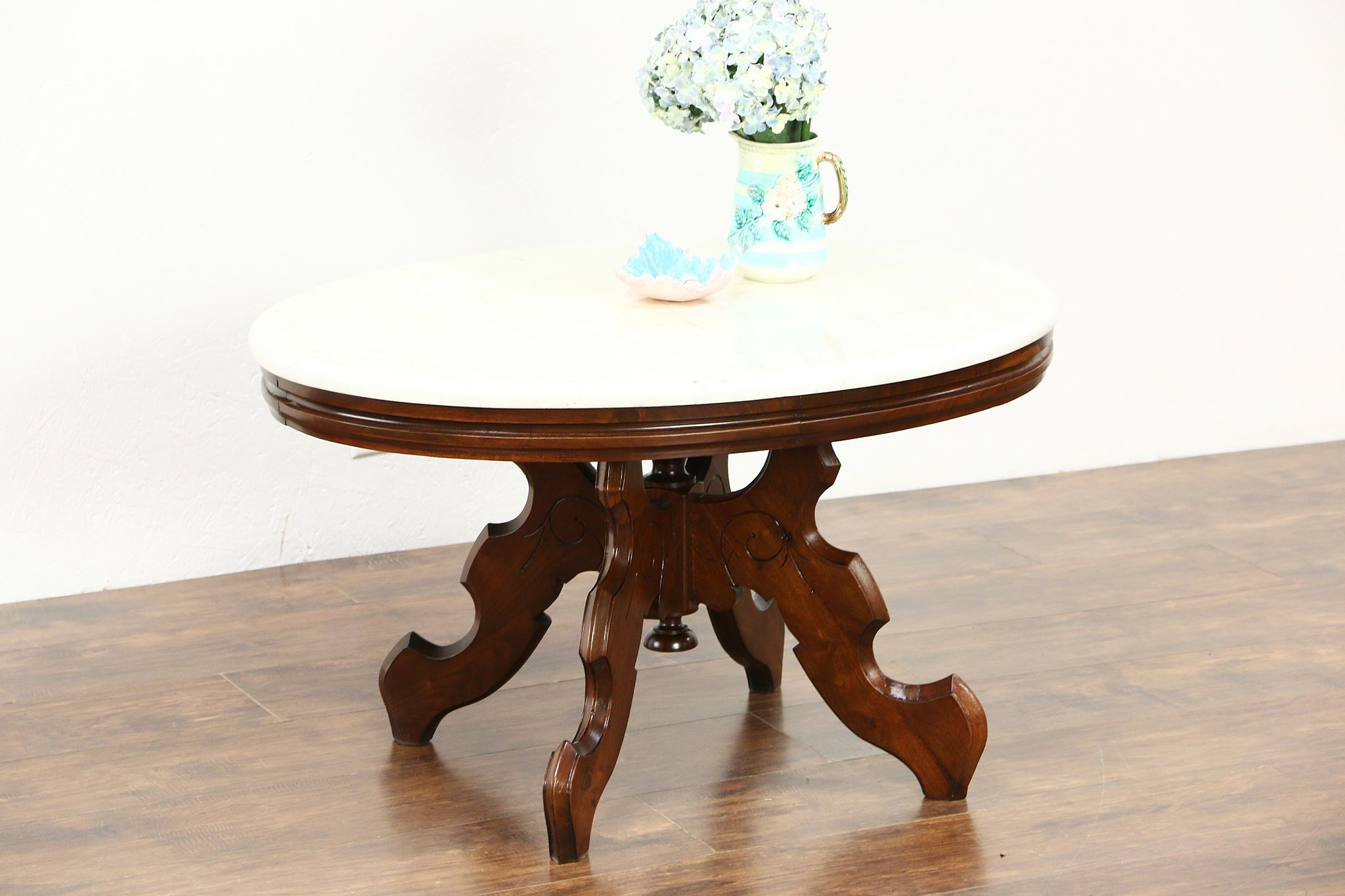 Sold Victorian 1880 S Antique Oval Marble Top Carved Walnut Coffee Table Harp Gallery Antiques Furniture