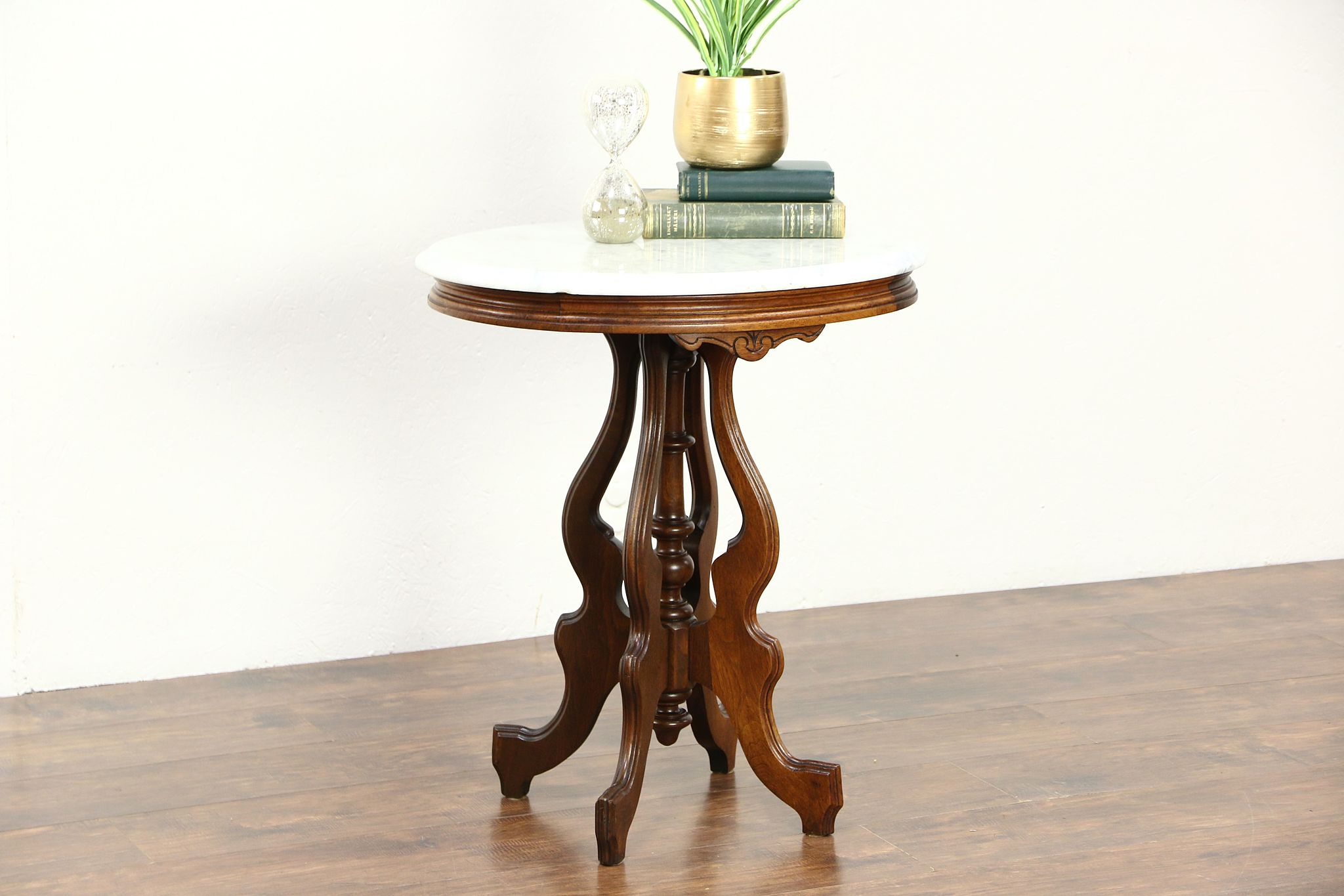 Victorian Oval Marble Top 1880u0027s Antique Carved Walnut Parlor Or Lamp Table  ...
