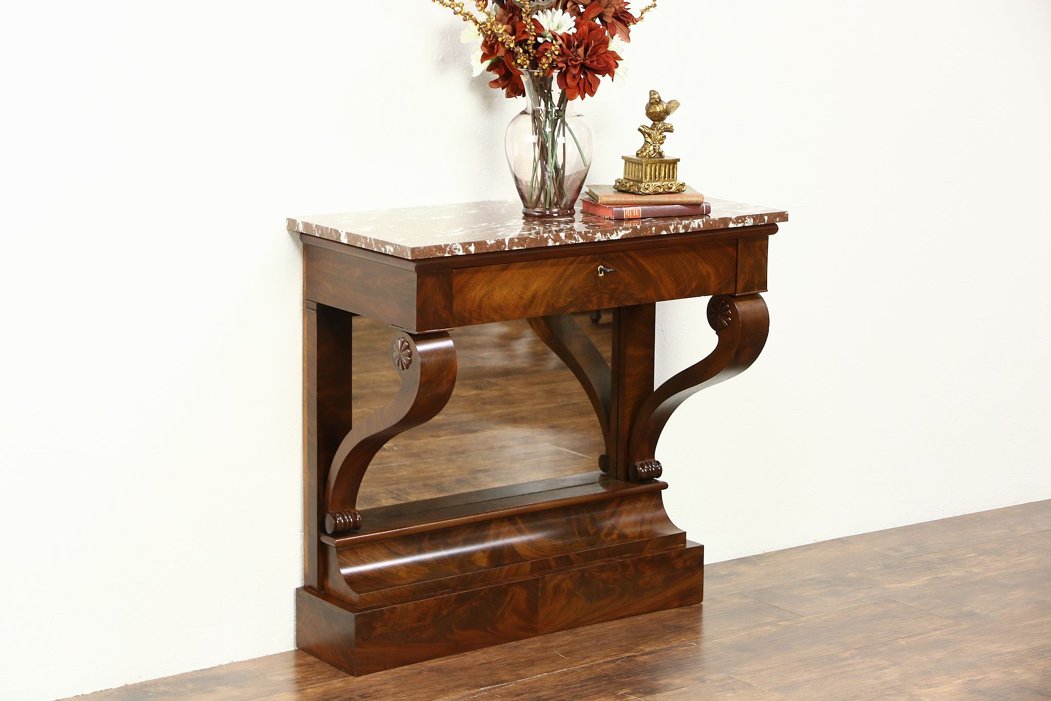 Empire 1910 Antique Mahogany Petticoat Table Or Hall Console, Marble Top