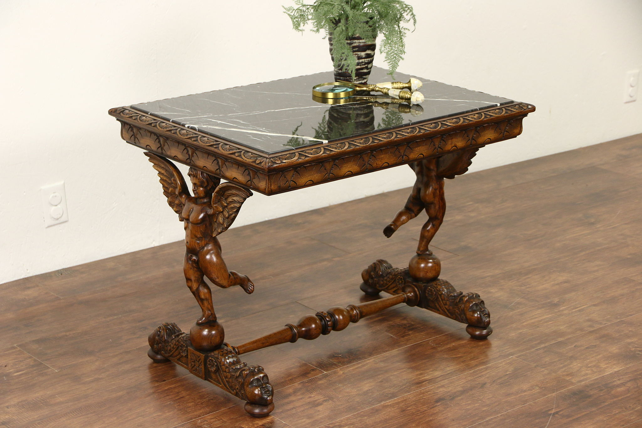 Italian 1920u0027s Antique Coffee Table, Carved Angels Or Cherubs, Black Marble  ...