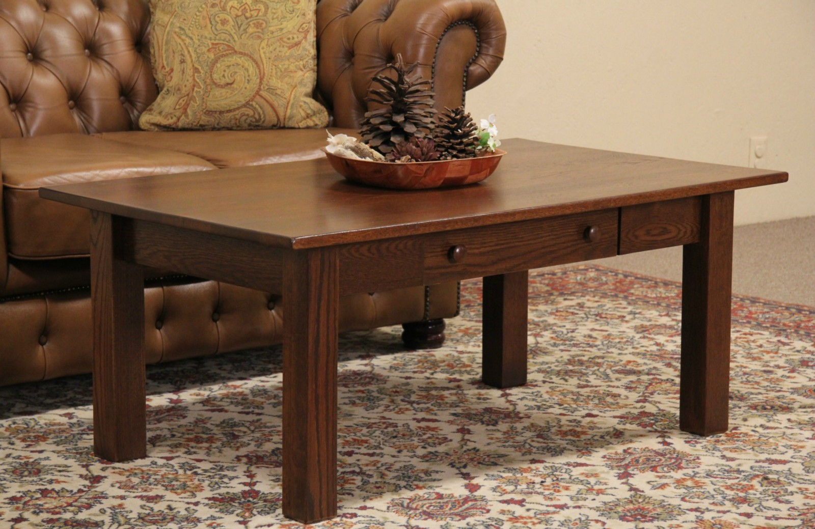 Arts U0026 Crafts Mission Oak 1916 Dated Antique Coffee Table W/ Drawer
