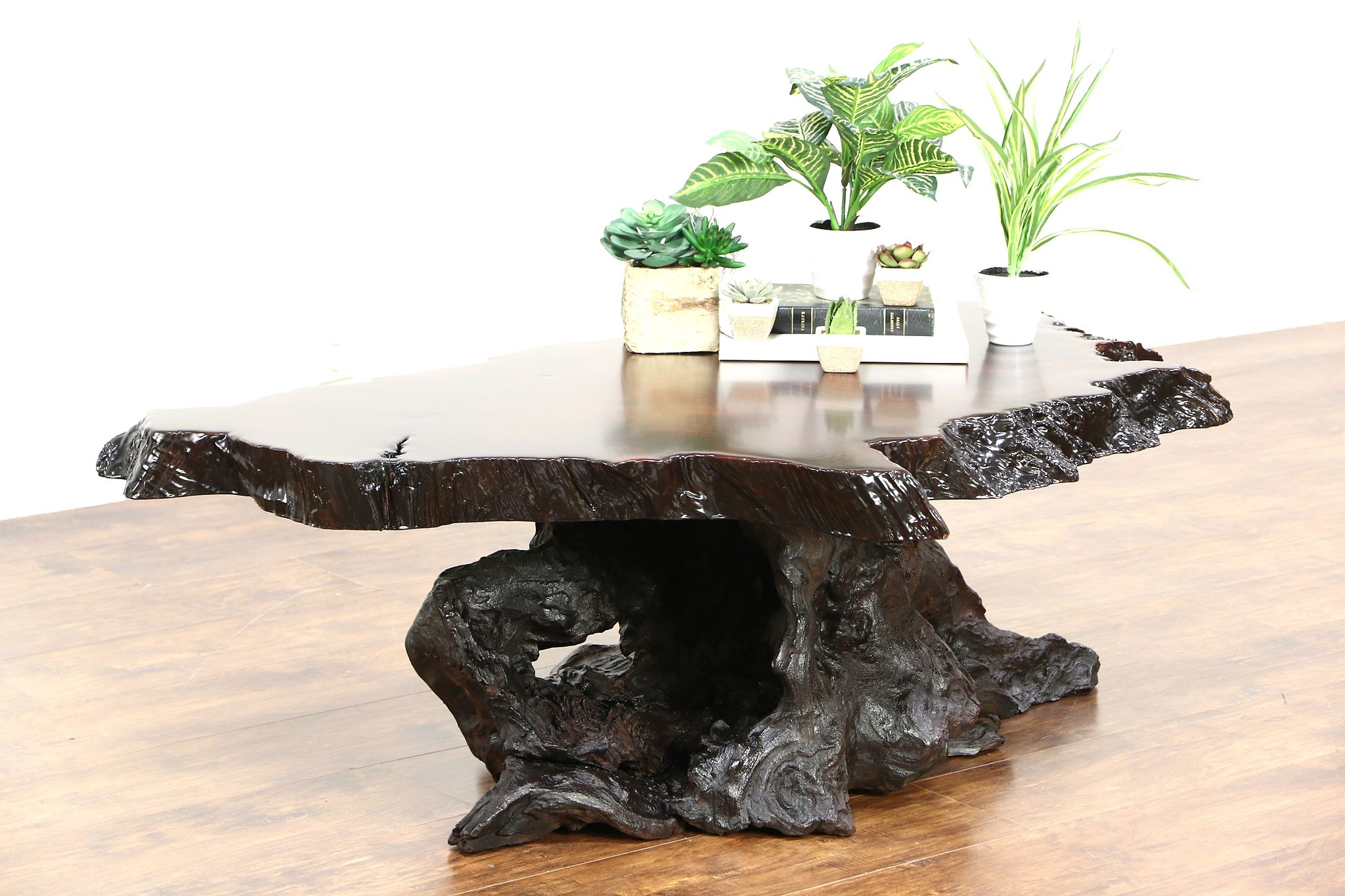 SOLD Redwood Burl Slab Coffee Table & Root Base 1970 s Vintage