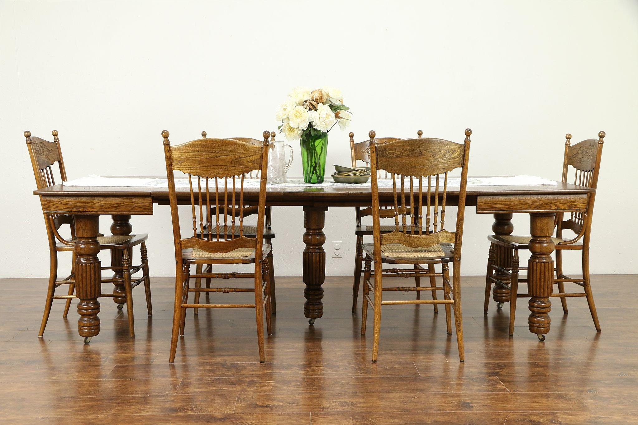 Victorian Antique Square Oak Dining Table, 5 Leaves, Extends 99\