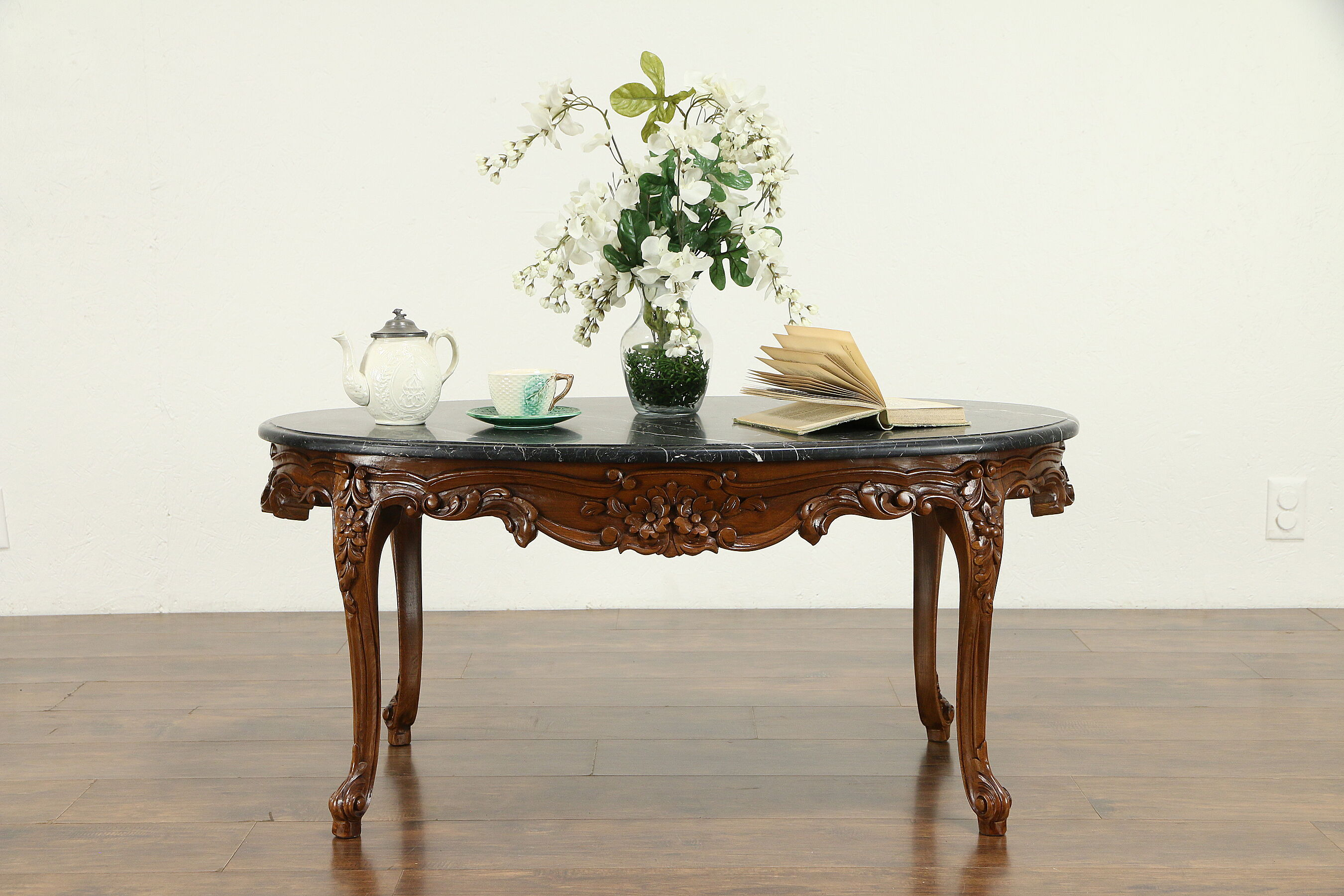 Picture of: Sold French Style Vintage Carved Walnut Oval Coffee Table Black Marble 31284 Harp Gallery Antiques Furniture