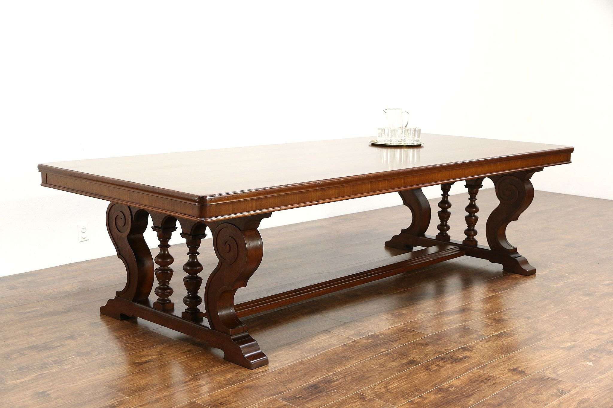 Conference, Library Or Dining 10u0027 Walnut Antique 1920 Table, Carved Trestle  Base ...