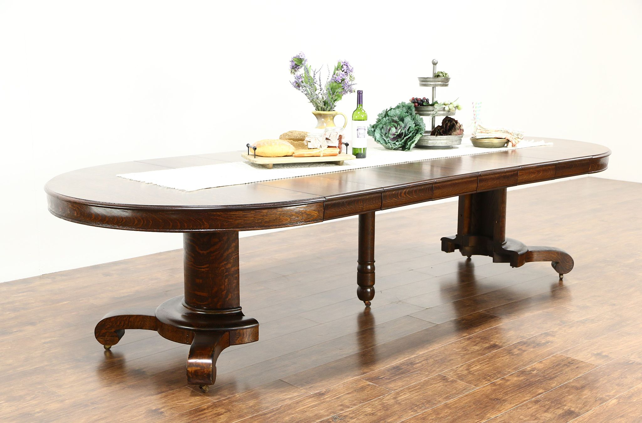"Round Quarter Sawn 54"" Oak 1910 Antique Dining Table 6 Leaves"
