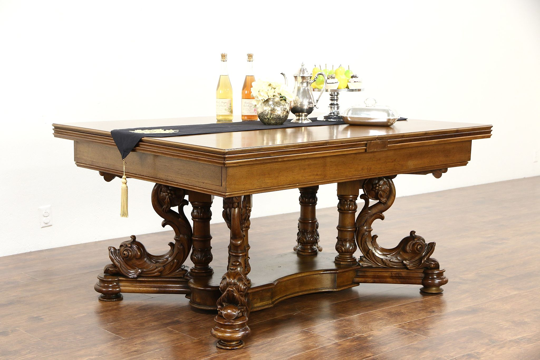 Dolphin Antique Library, Conference, Dining Table, Extends 15u0027 Signed  Ruscheweyh ...