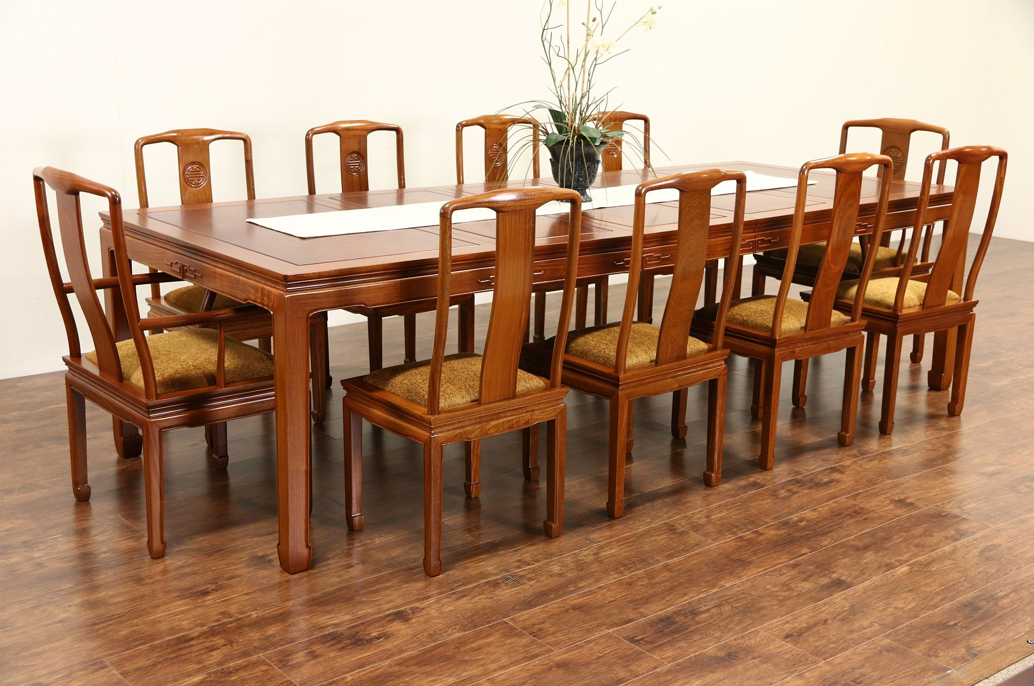 Asian Vintage Carved Rosewood Dining Set, Table 3 Leaves, 10 Chairs, ...