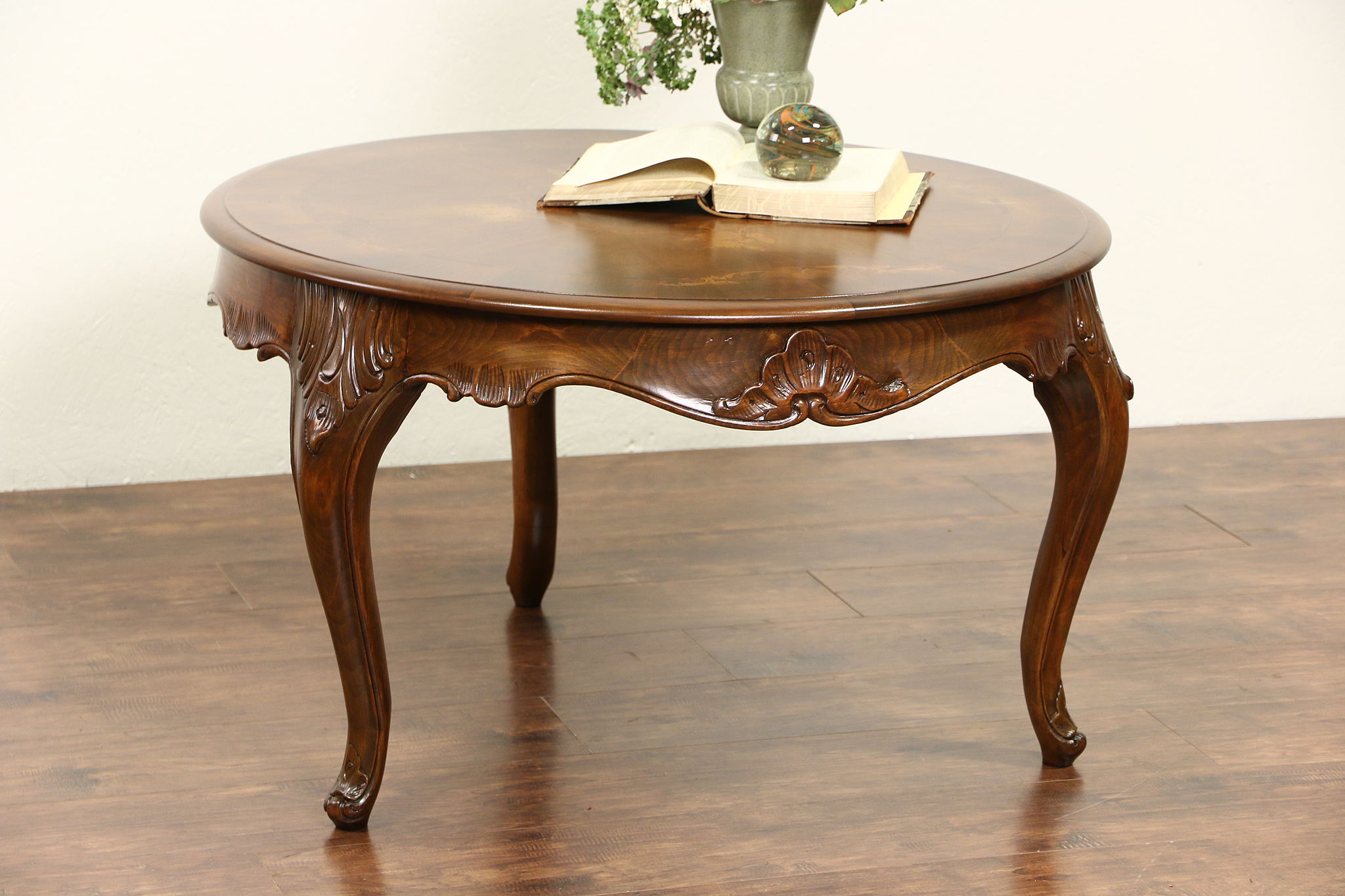 Beau Country French Carved 1940u0027s Vintage Coffee Cocktail Table, Marquetry Top