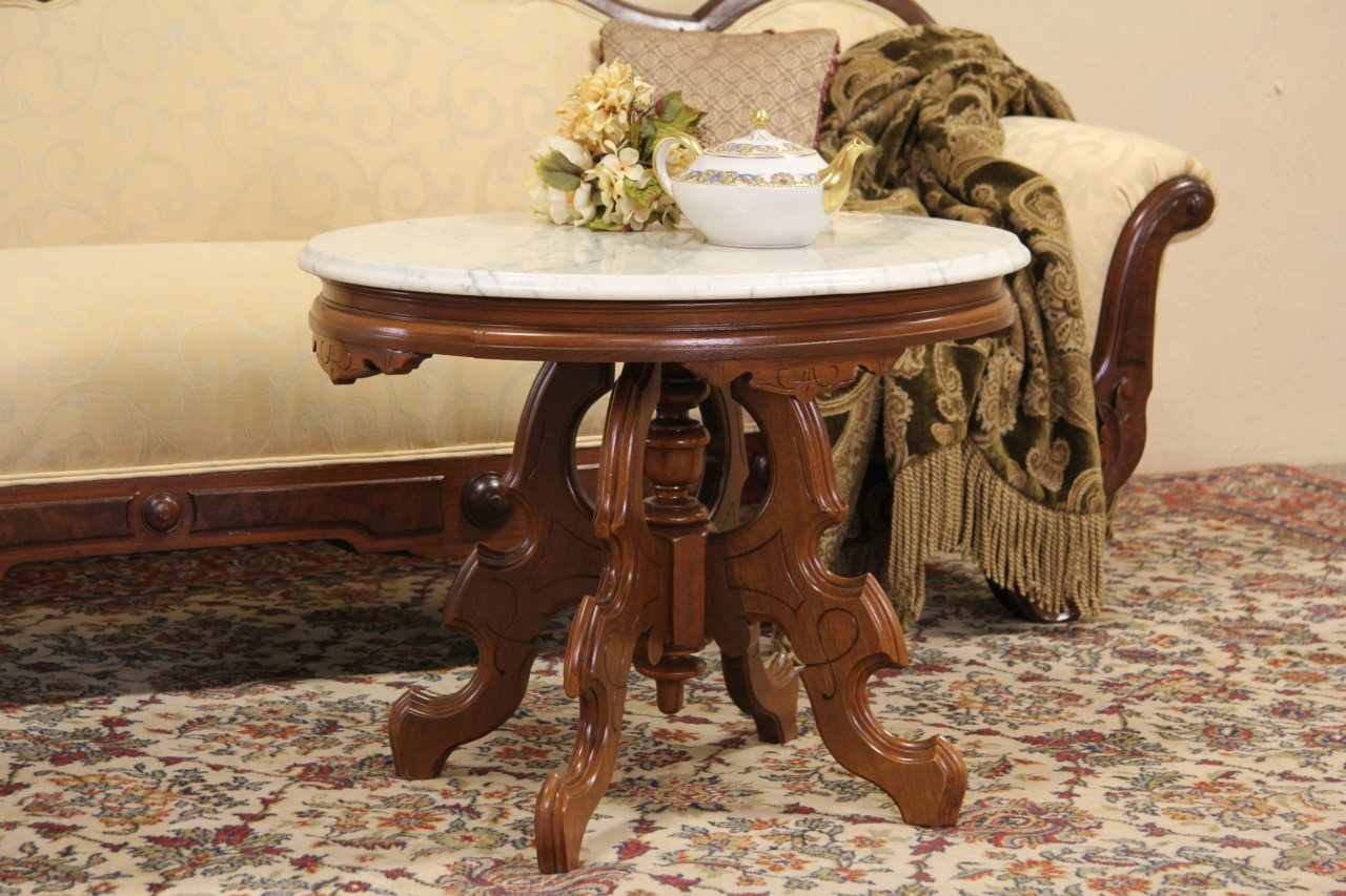 Marvelous Coffee Table From Shortened Victorian Oval Marble Top Table