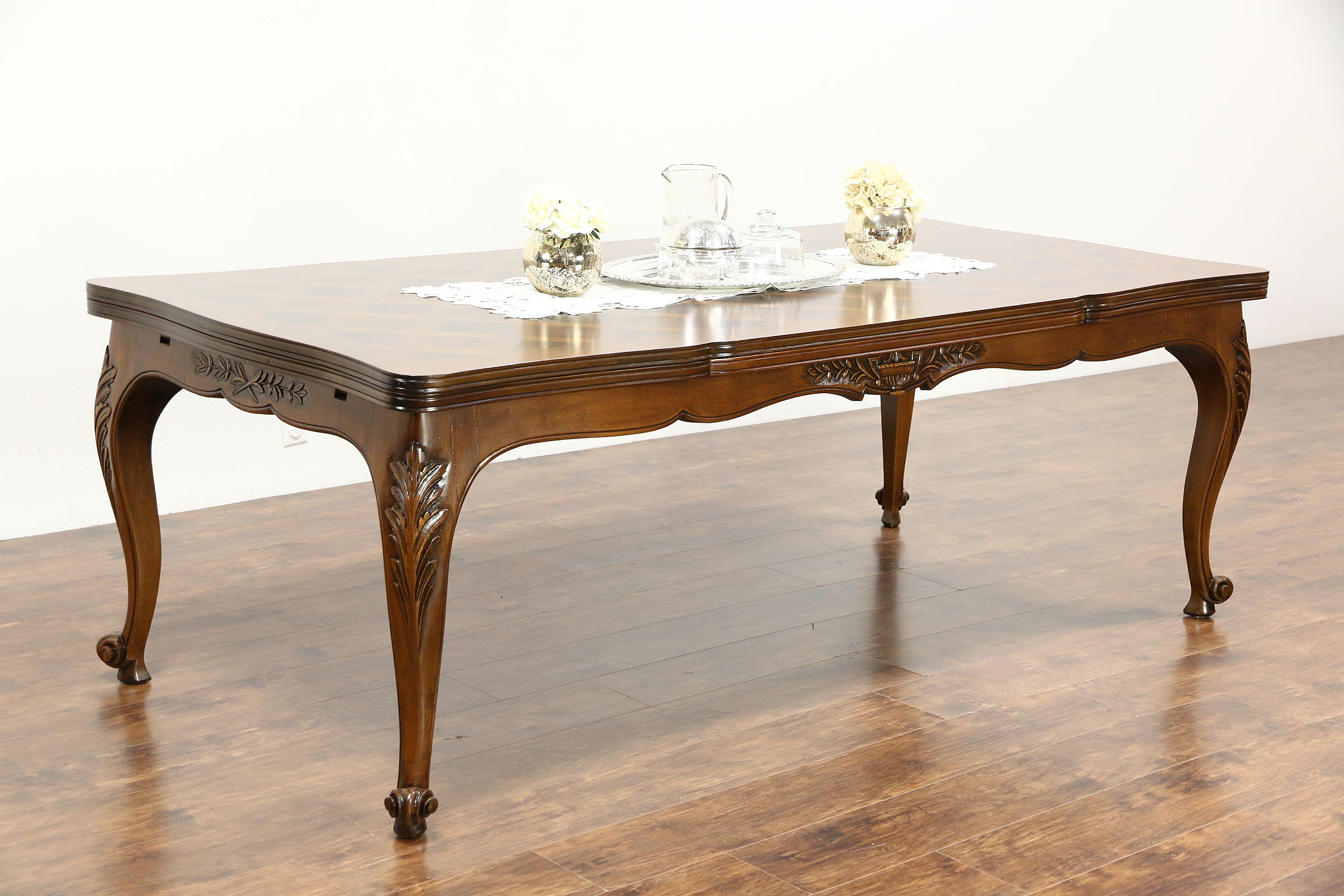 SOLD Country French Carved Cherry Vintage Dining Table Extends