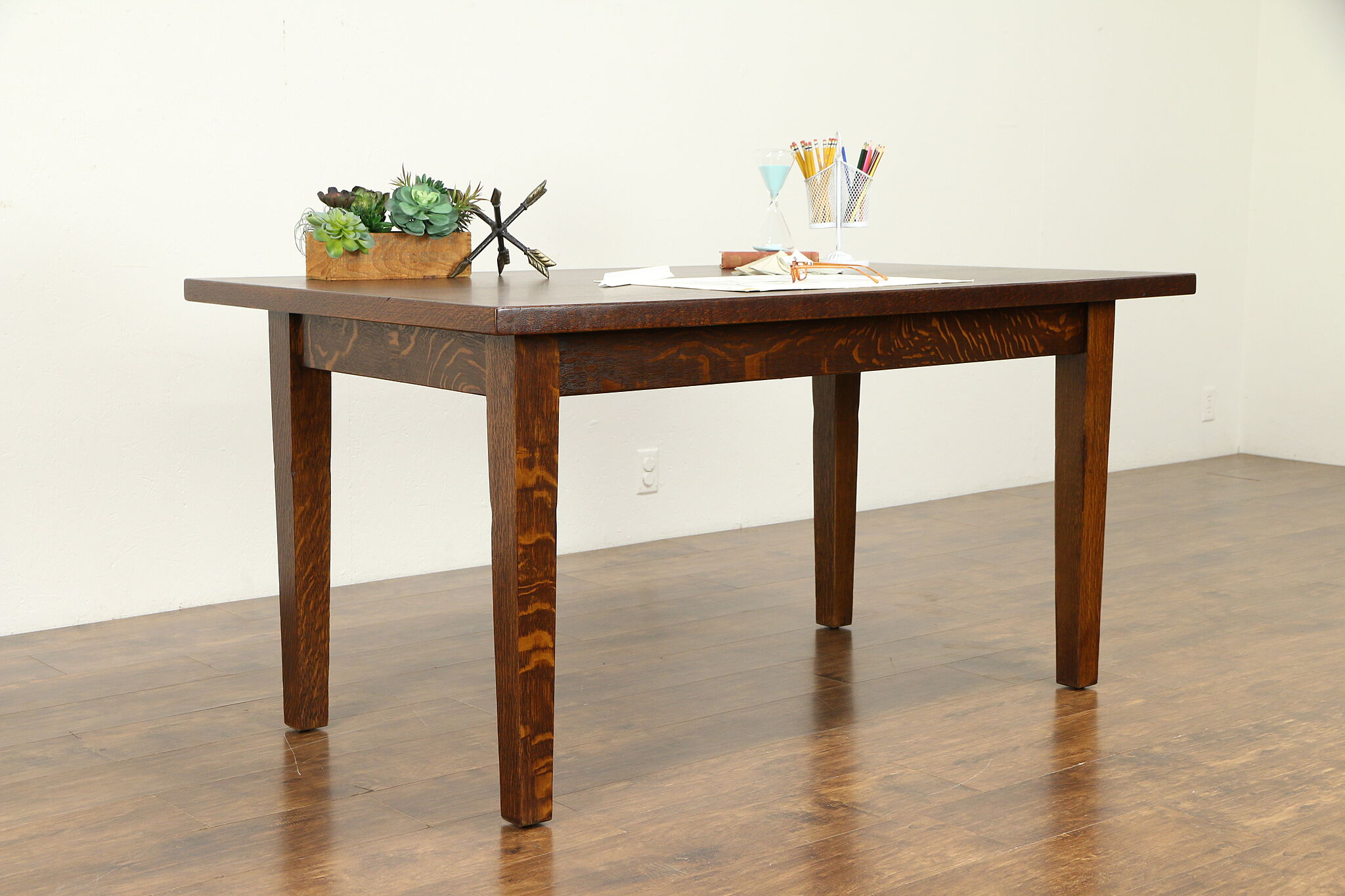 Sold Craftsman Oak Antique Library Table Desk Or Dining Table