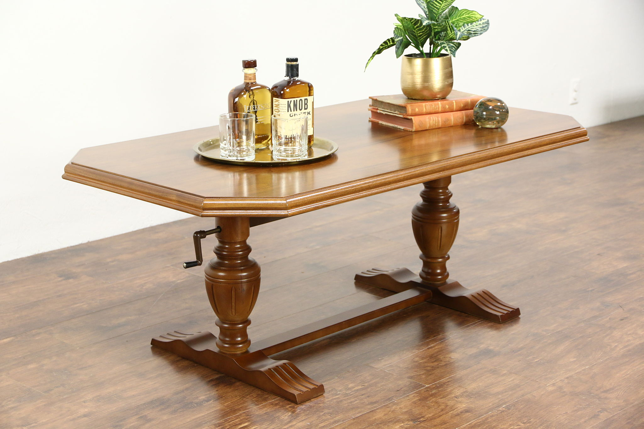 Scandinavian Walnut Elevator Coffee Table Rises For Wine Cheese Etizers