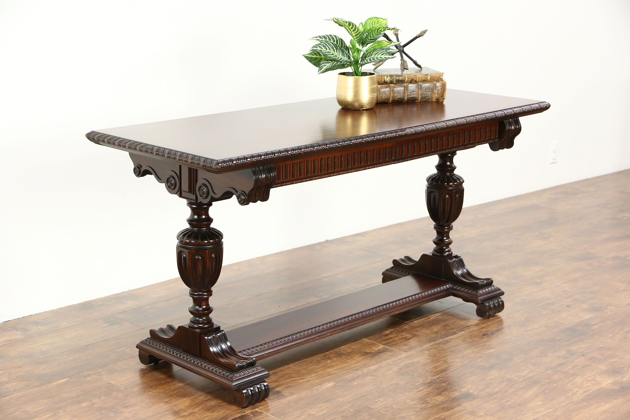 Carved Antique Mahogany Sofa Hall Console Or Library Table Signed Imperial