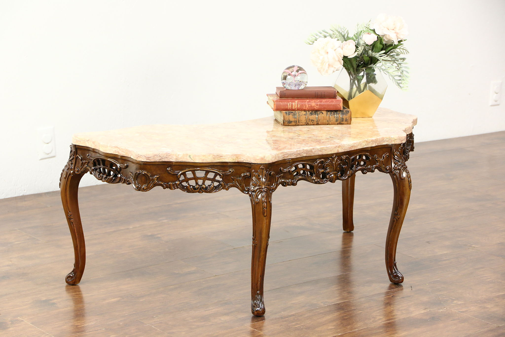 SOLD French Style Carved 1940 s Vintage Coffee Table Rose