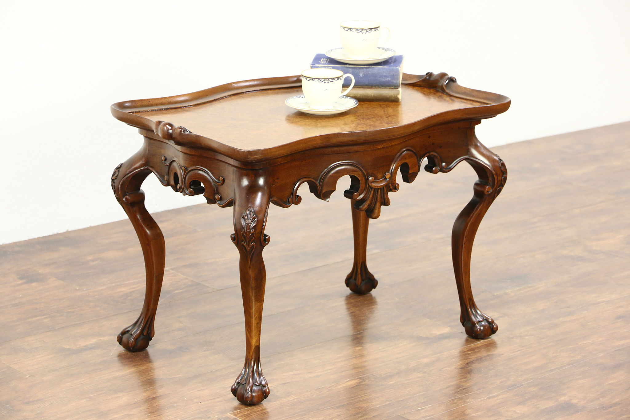 Carved Mahogany Coffee Table, Curly Birdseye Maple Top ...