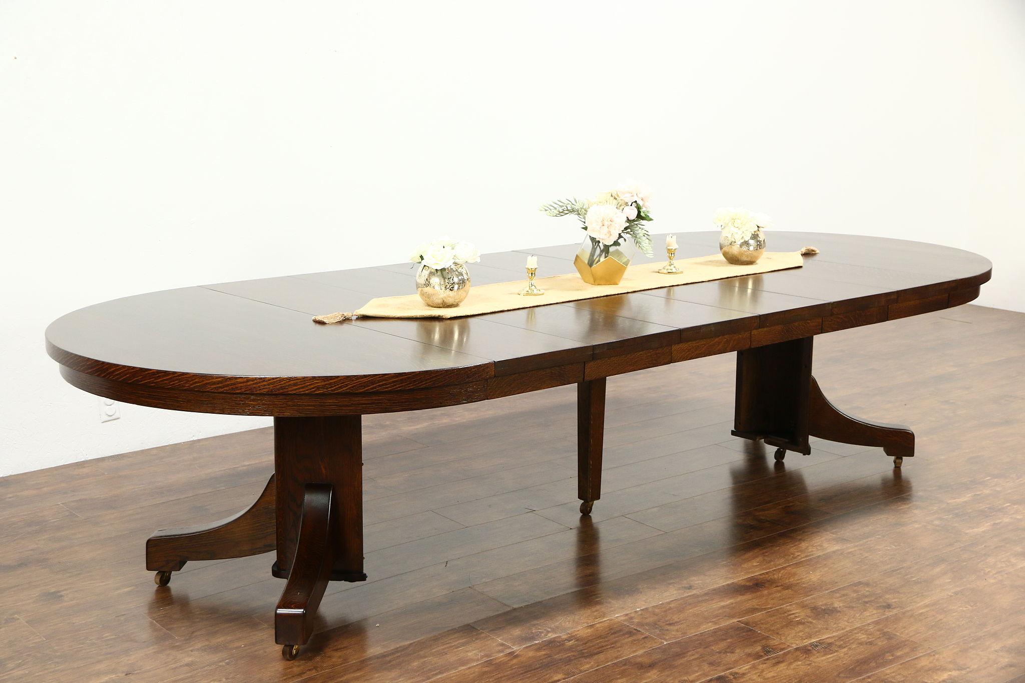 Sold Arts Crafts Mission Oak Antique Round Craftsman Dining
