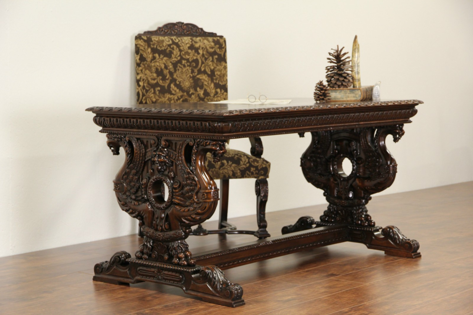 Renaissance Carved Griffins 1900 Antique Italian Writing Desk Library Table