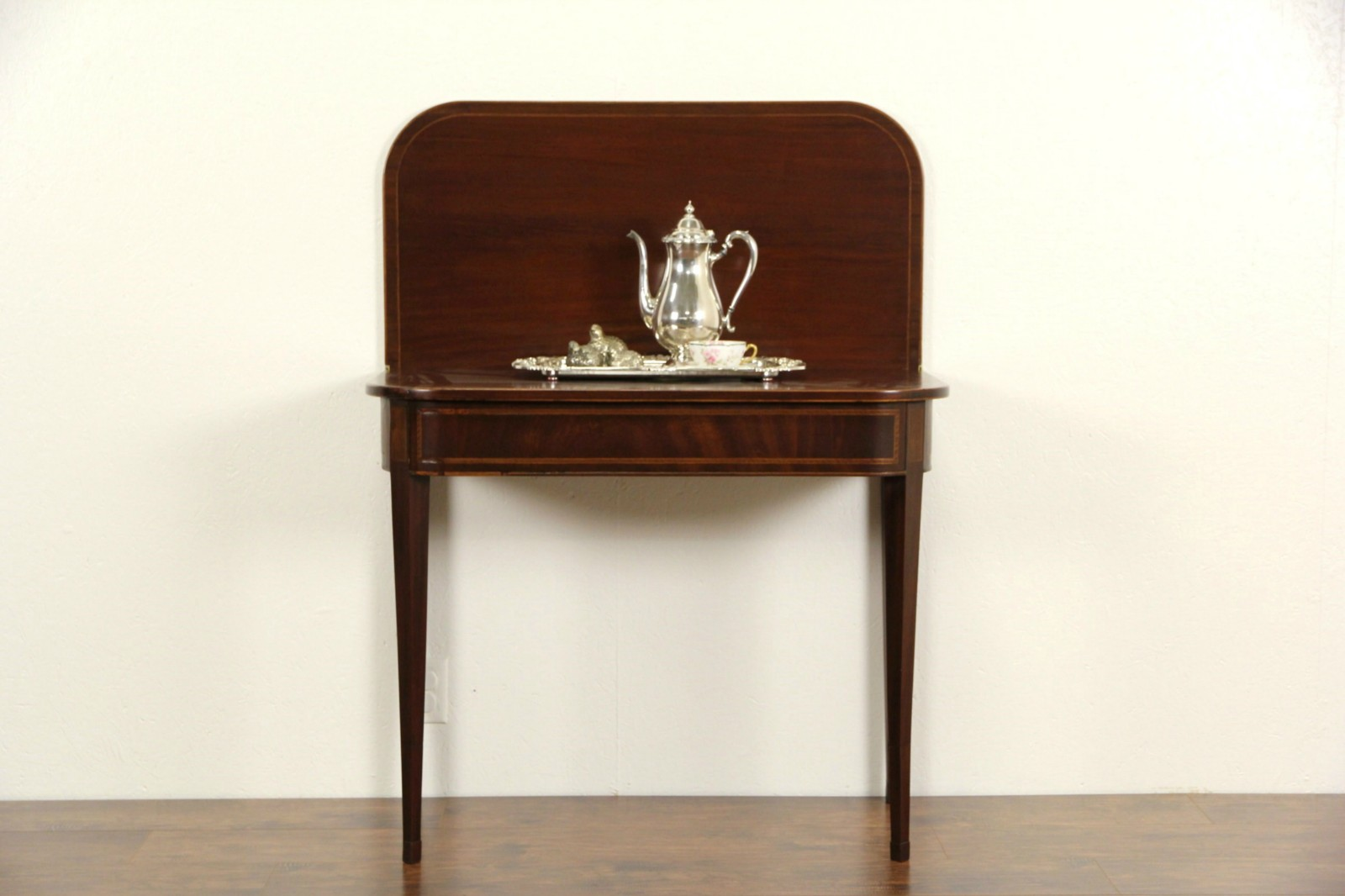 Hepplewhite Federal 1800u0027s Antique Console Table, Opens To Game Table