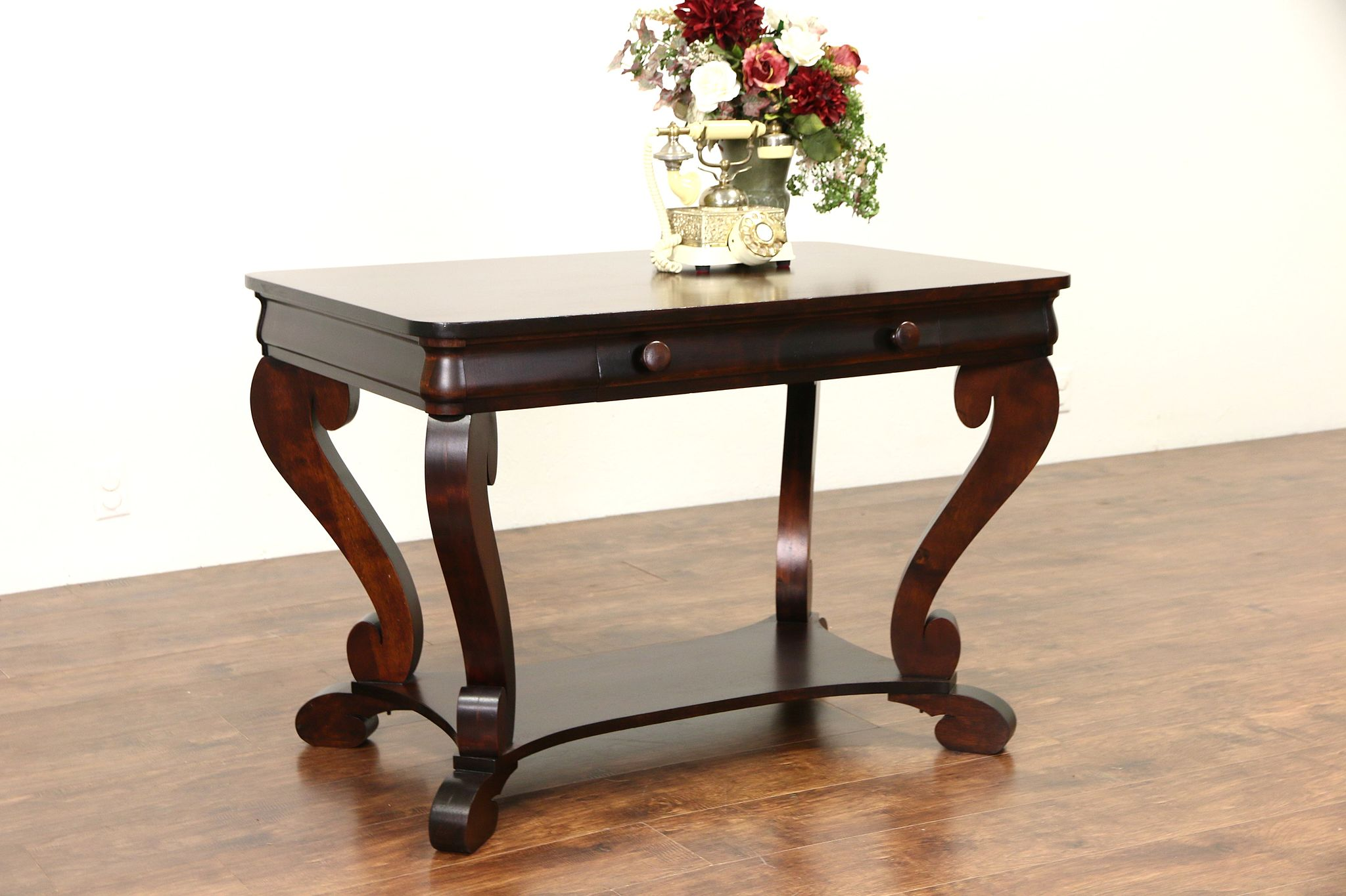 Ordinaire Empire 1915 Antique Mahogany Writing Desk Or Library Table