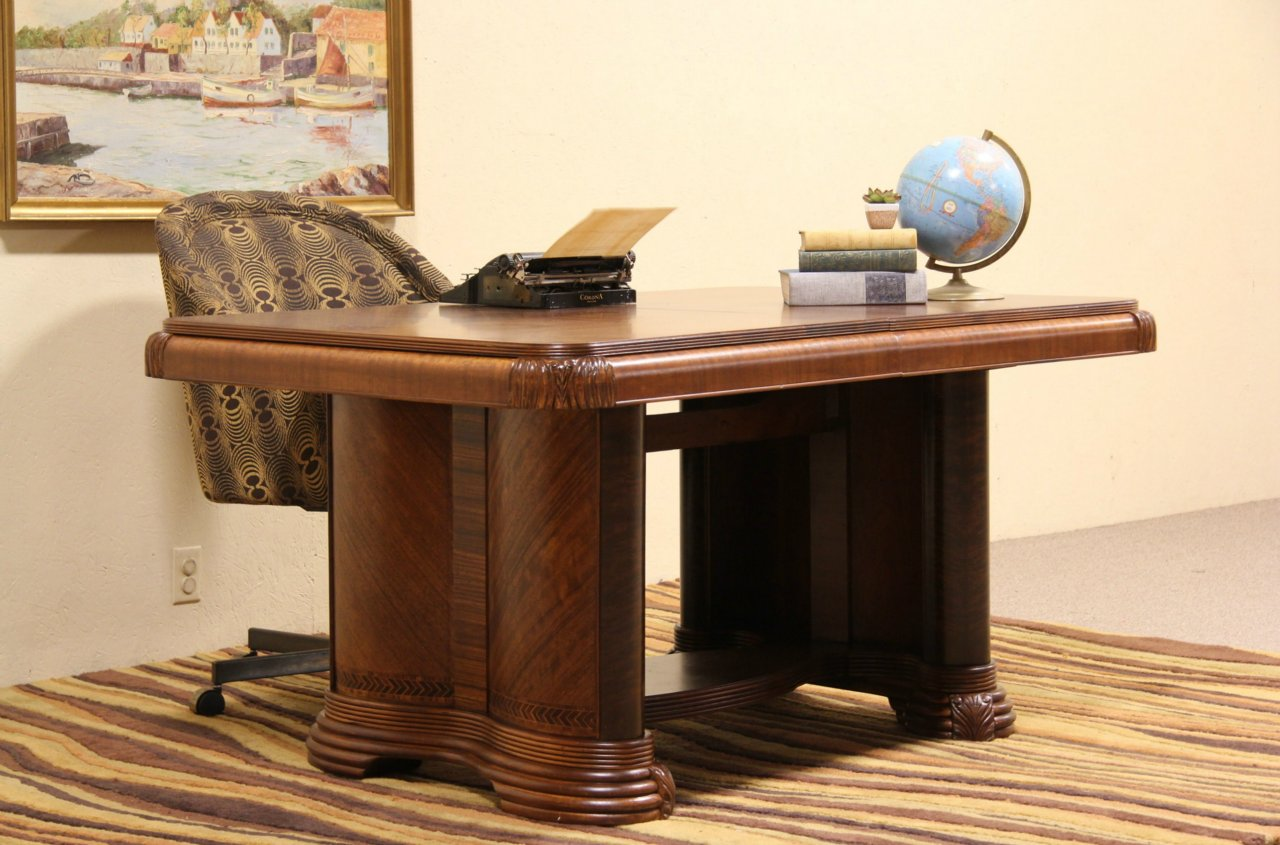 Sold Art Deco 1930 S Dining Or Library Table Harp