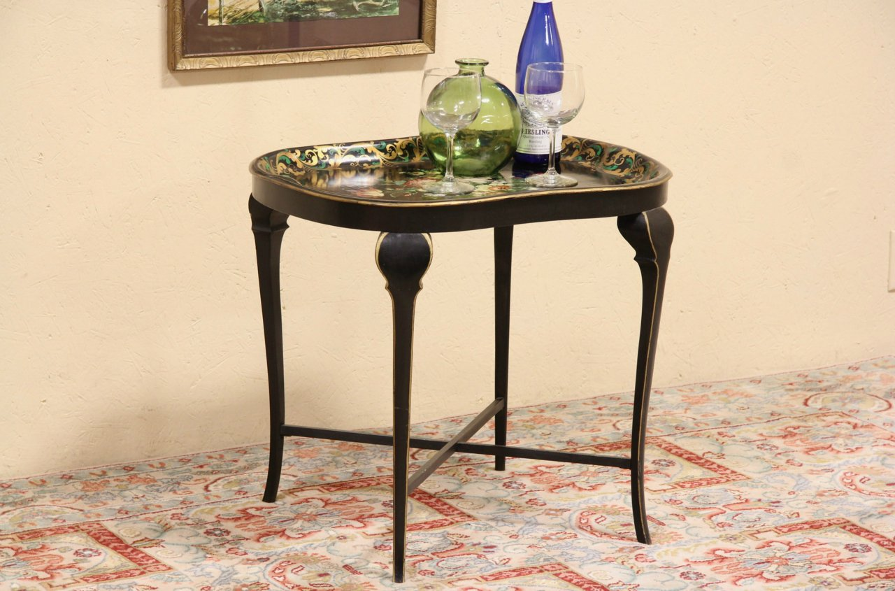 Toleware Painted 1860 Antique Tray And Stand, Coffee Table ...