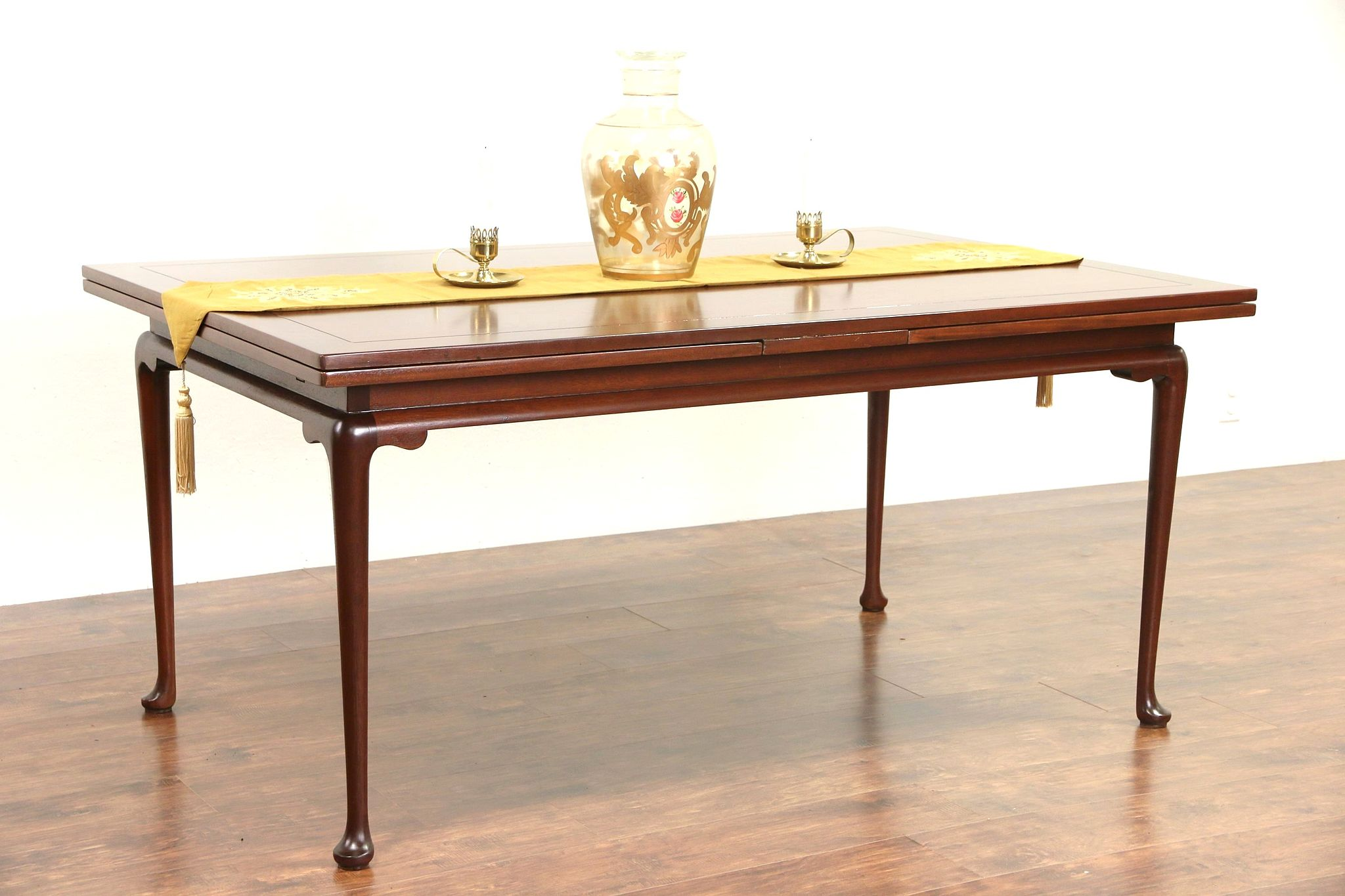 Kittinger Signed Vintage Georgian Mahogany Dining Table Pull Out Leaves