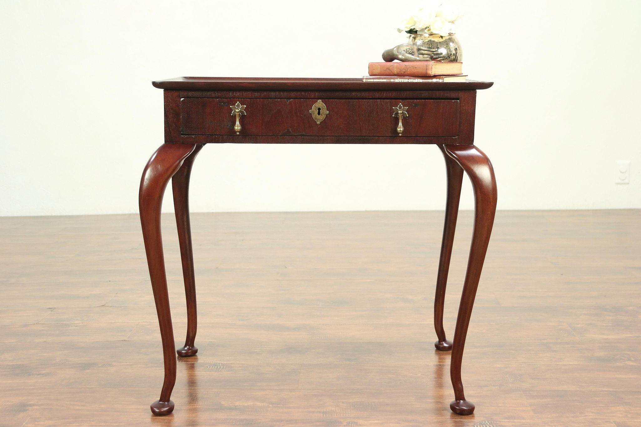 Superbe Antique George II Style Mahogany Tea Or Hall Table, England #29206 Photo