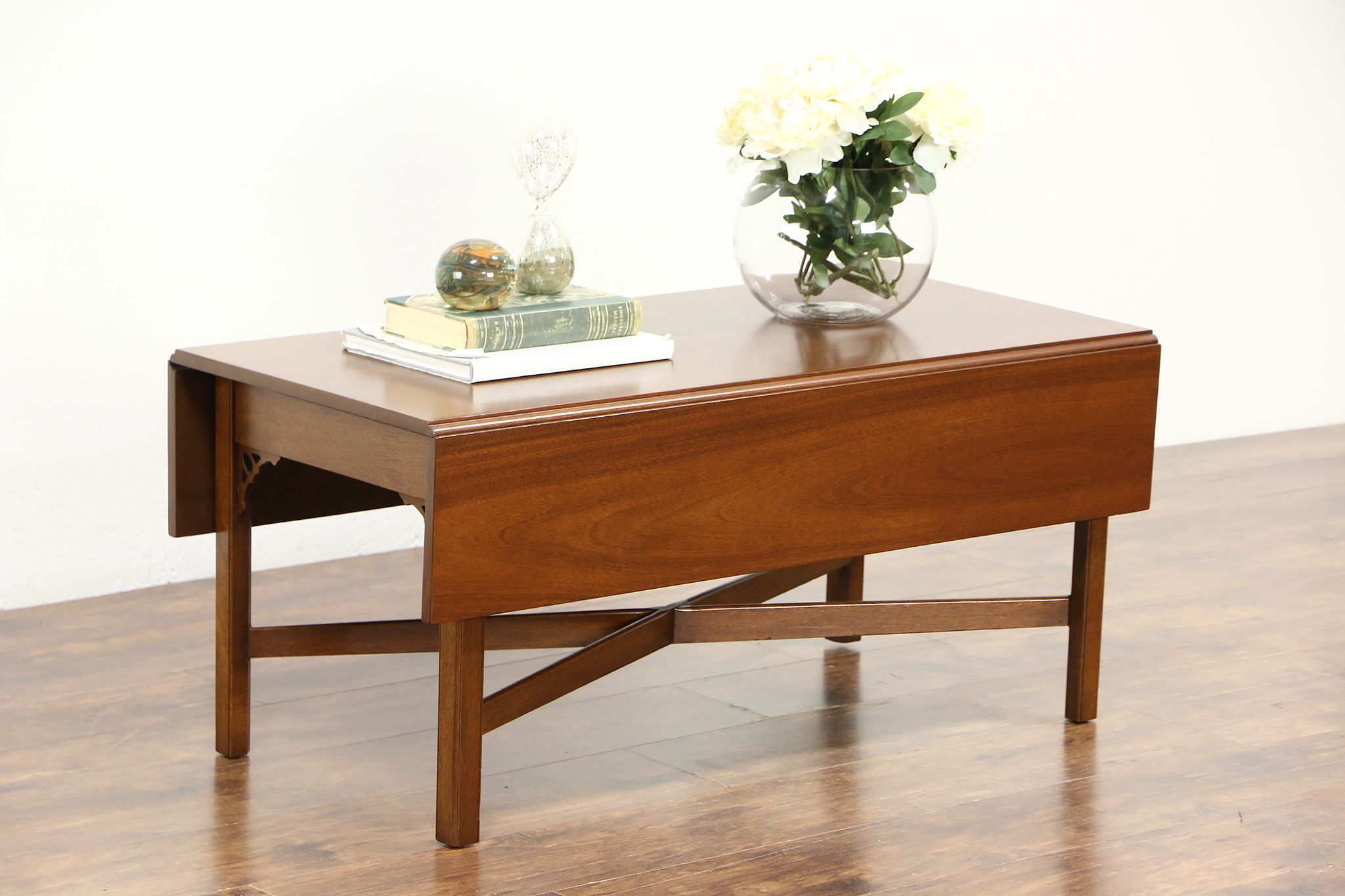 Mahogany Dropleaf Vintage Coffee Table Signed Kittinger of NY