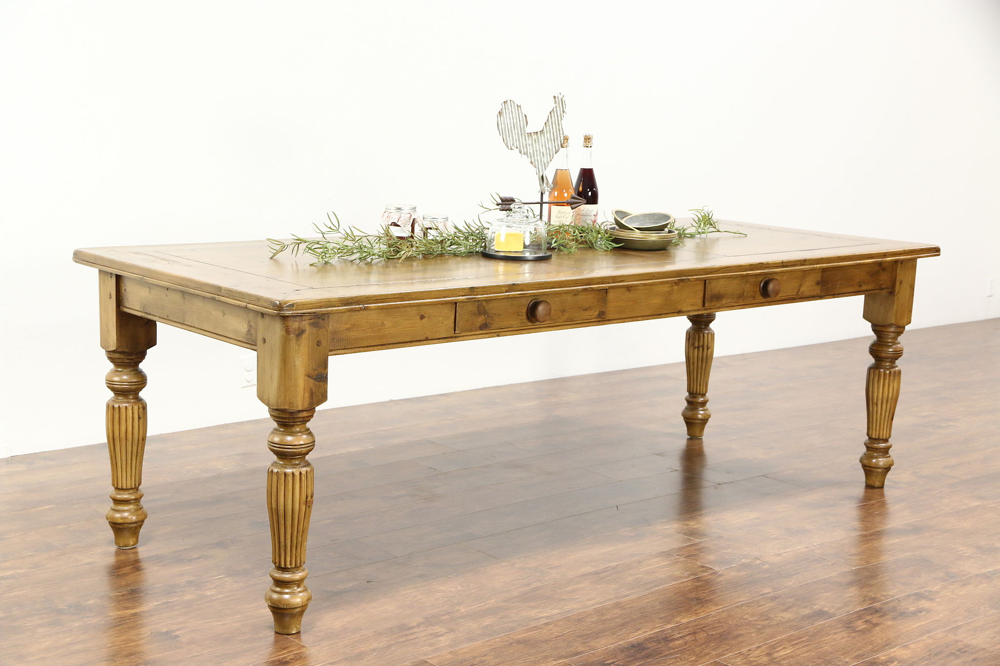 Country Pine Farmhouse Vintage 8 Harvest Dining Table Two